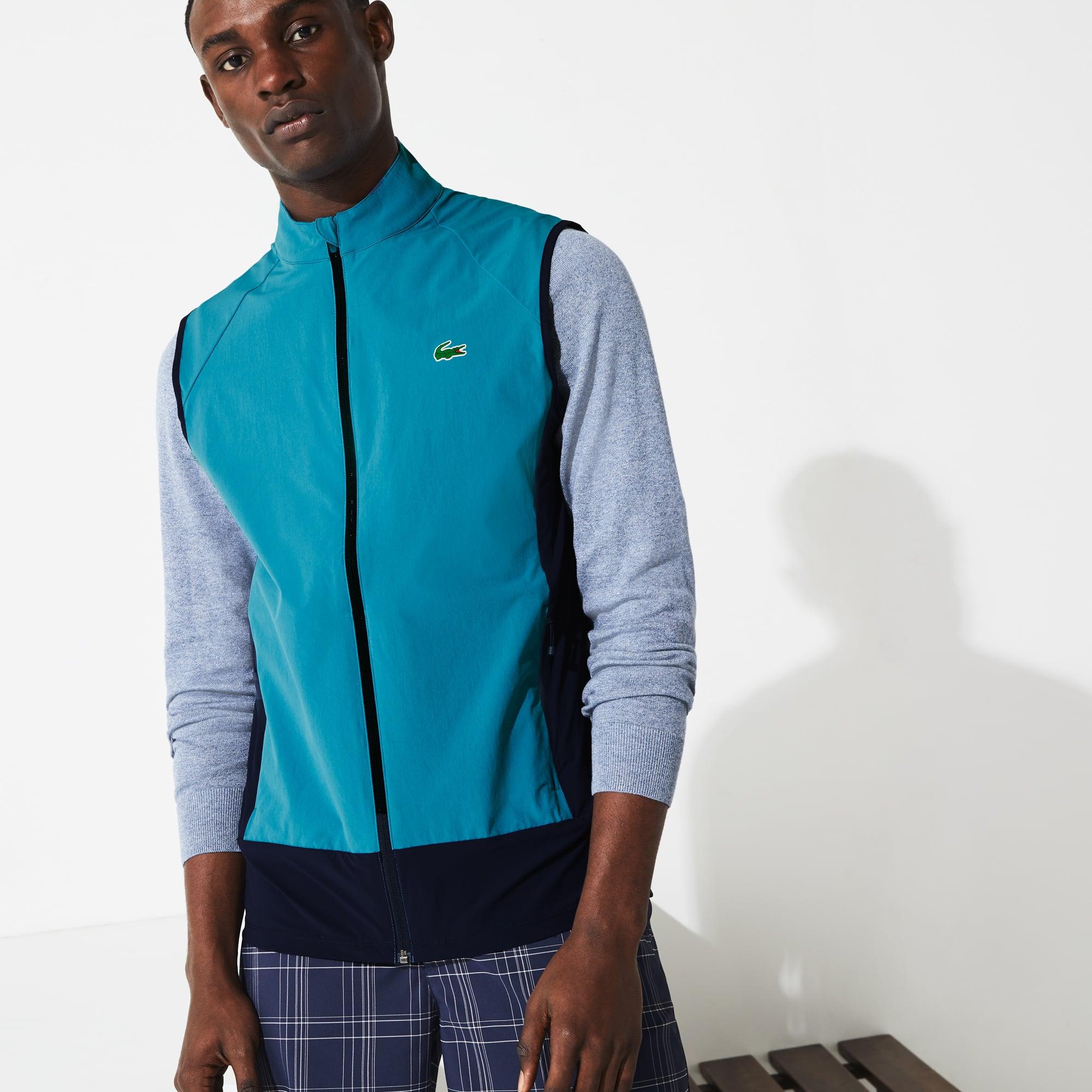 라코스테 Lacoste Mens SPORT Colorblock Technical Taffeta Golf Quilted Vest,Blue / Navy Blue