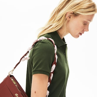 라코스테 Lacoste Womens Braided Leather Shoulder Strap