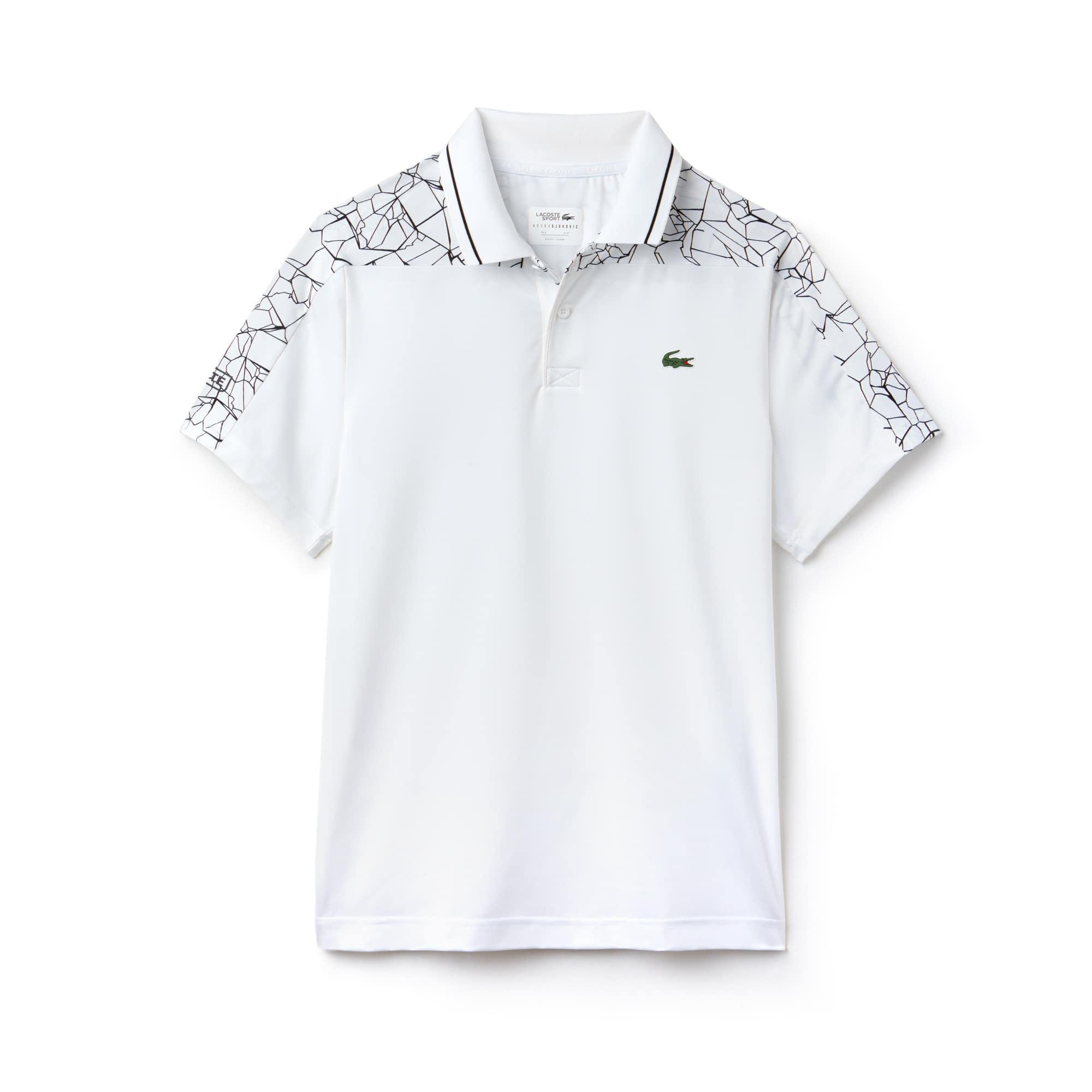 라코스테 스포츠 반팔 카라티 Lacoste Mens SPORT Stretch Technical Jersey Polo - x Novak Djokovic On Court Premium Edition,white/black
