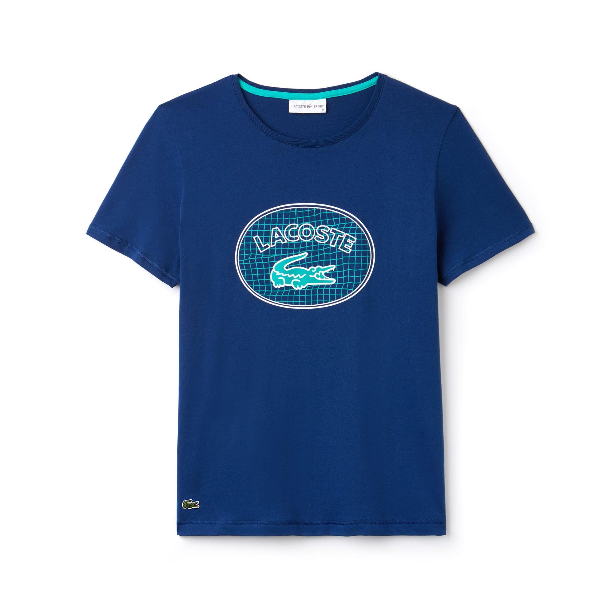 라코스테 Lacoste Womens SPORT Oversized Logo Design Jersey Tennis T-shirt,navy blue / white / green
