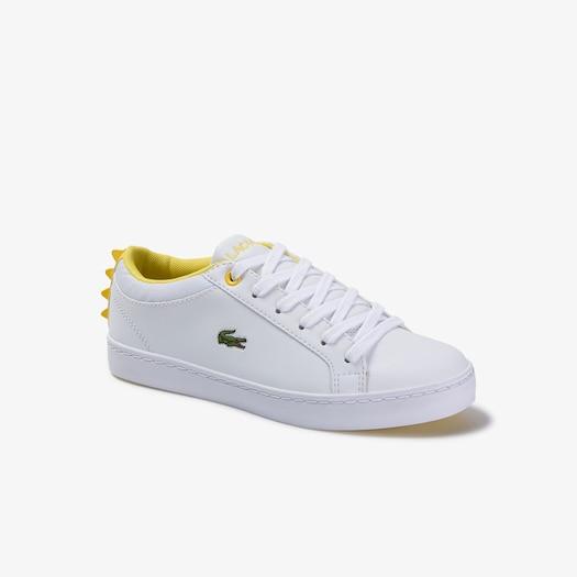 라코스테 아동 운동화 Lacoste Childrens Straightset Lace-up Synthetic and Textile Sneakers,WHITE/YELLOW