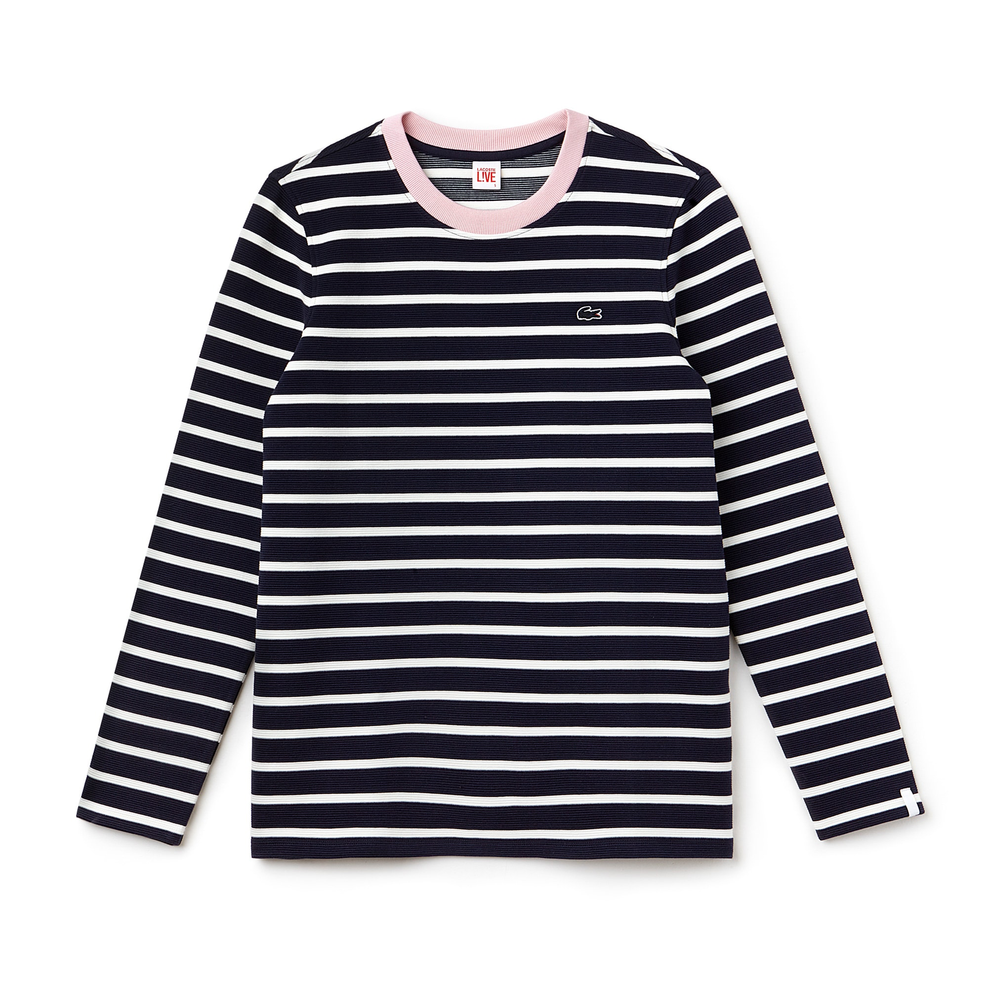 Women's  LIVE Contrast Collar Ottoman Knit Nautical Shirt