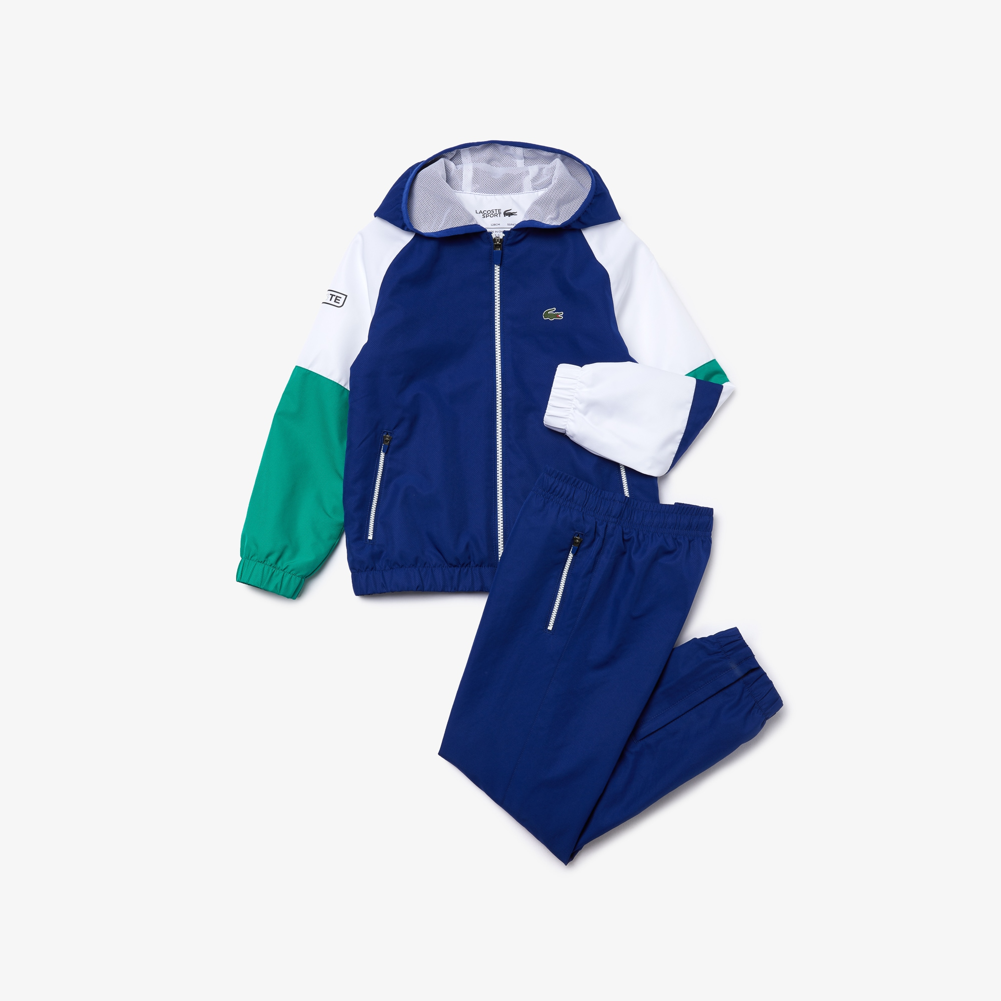 Boys' 라코스테 Lacoste SPORT Hooded Tracksuit,Blue / White / Green / Black • GXP