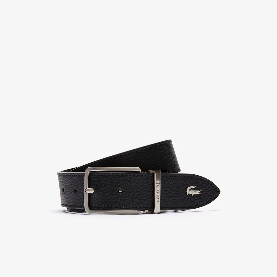 Men's Lacoste Engraved Buckle Grained Leather Belt