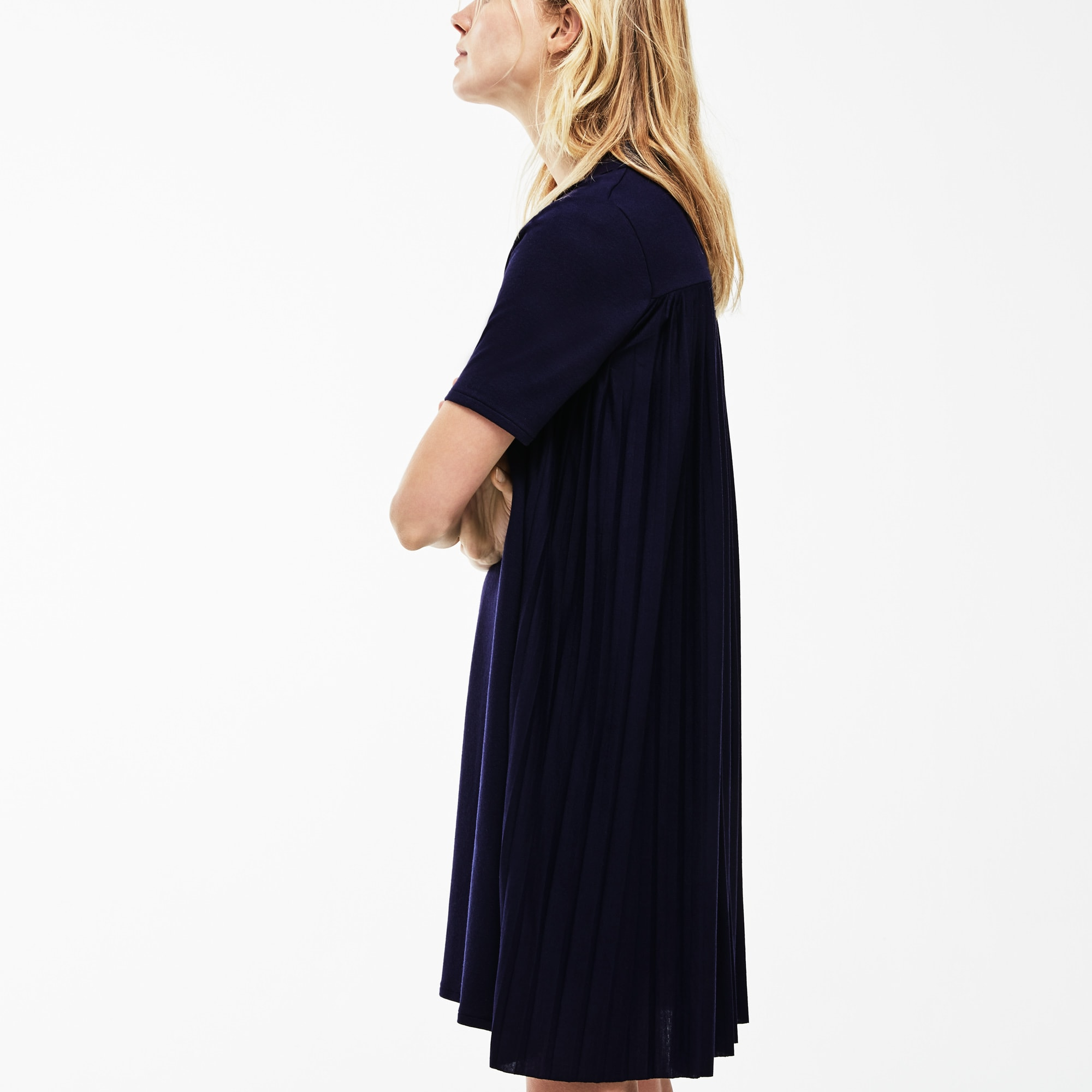 Lacoste WOMEN'S PLEATED PANEL PIQUÉ POLO DRESS