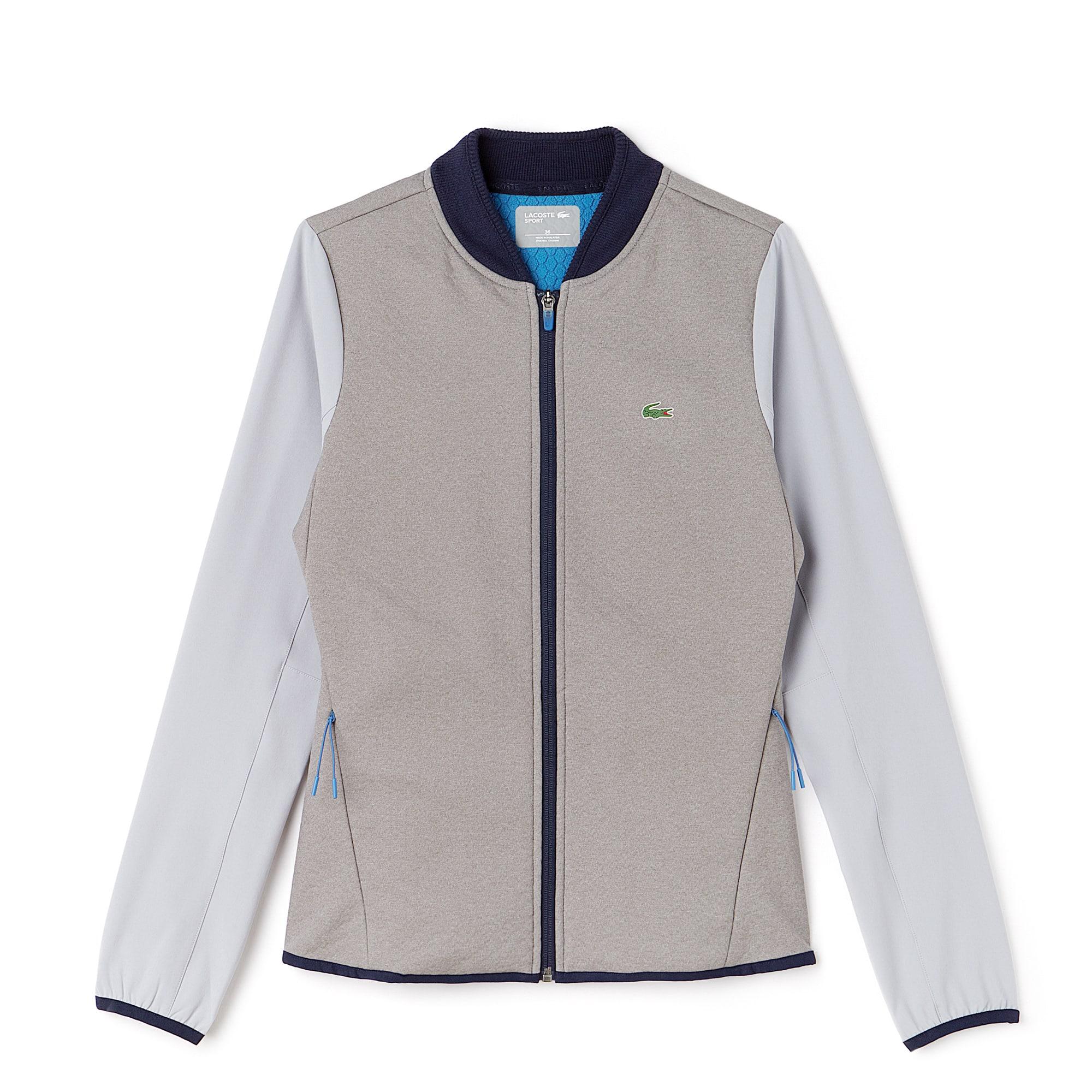 라코스테 Lacoste Womens SPORT Water-Resistant Midlayer Golf Sweatshirt,ALUMINIUM GREY CHINE/MEDW
