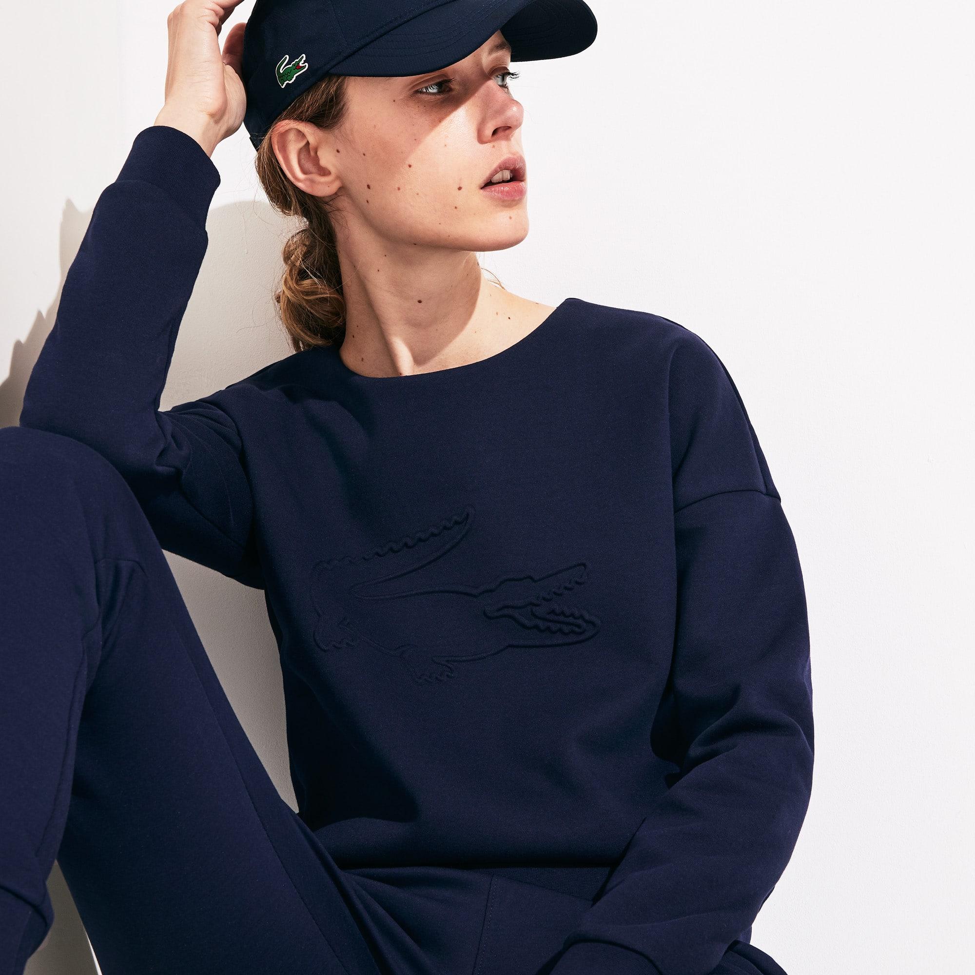 라코스테 Lacoste Women's SPORT Oversize Croc Cotton-Blend Sweatshirt,Navy Blue - 166