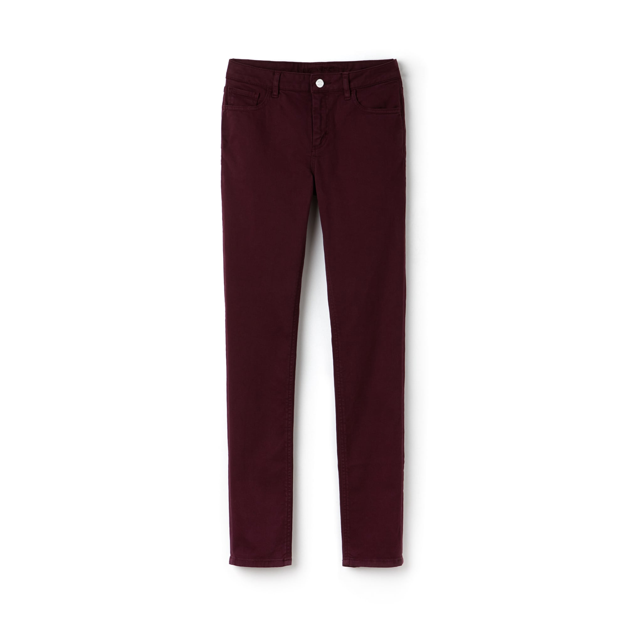 라코스테 Lacoste Womens Slim Fit Stretch Cotton Denim Jeans,bordeaux