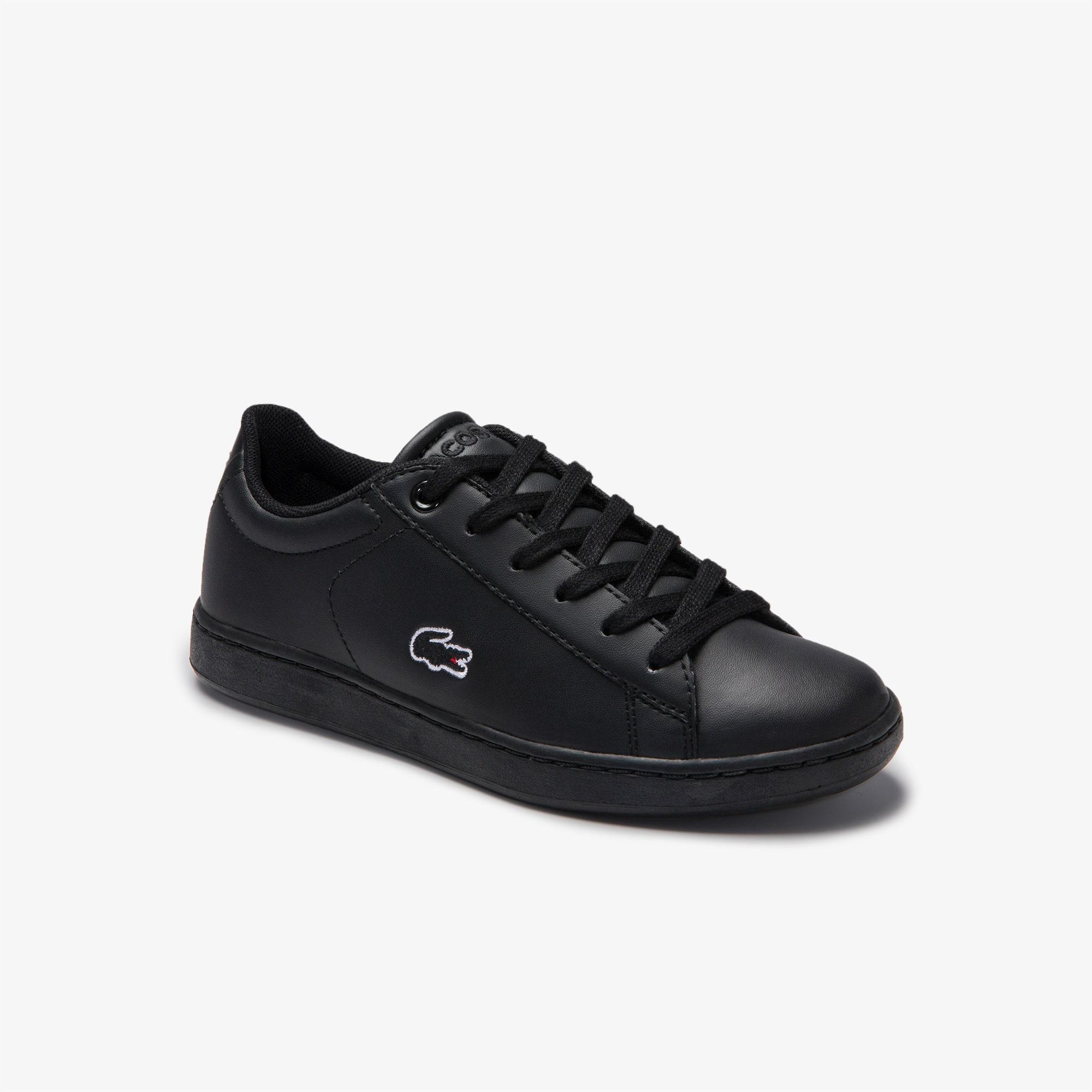 라코스테 Lacoste Childrens Carnaby Evo Lace-up Mesh-lined Synthetic Sneakers,BLK/BLK • 02H