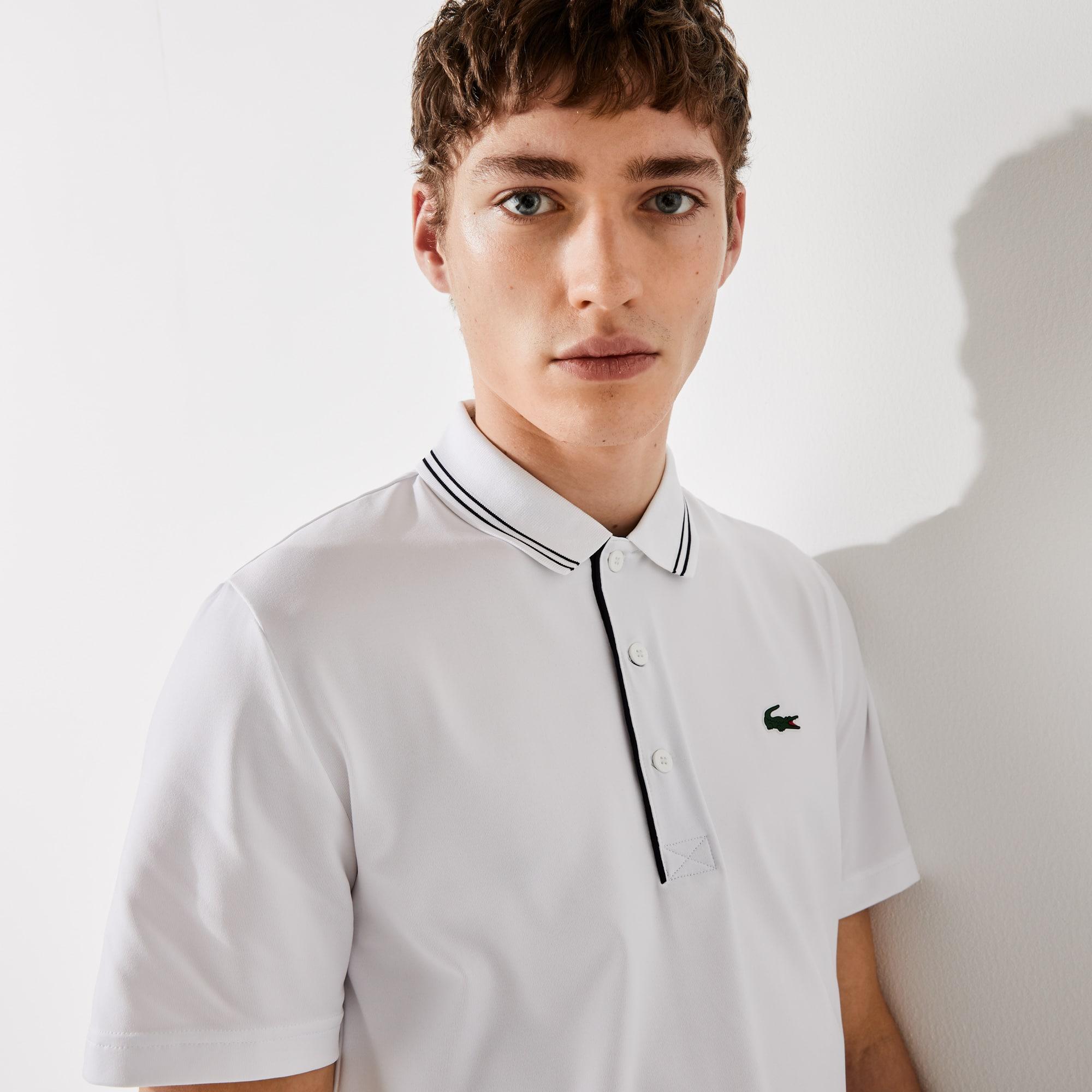 라코스테 Lacoste Mens SPORT Signature Breathable Golf Polo Shirt,White / Navy Blue - AJ0
