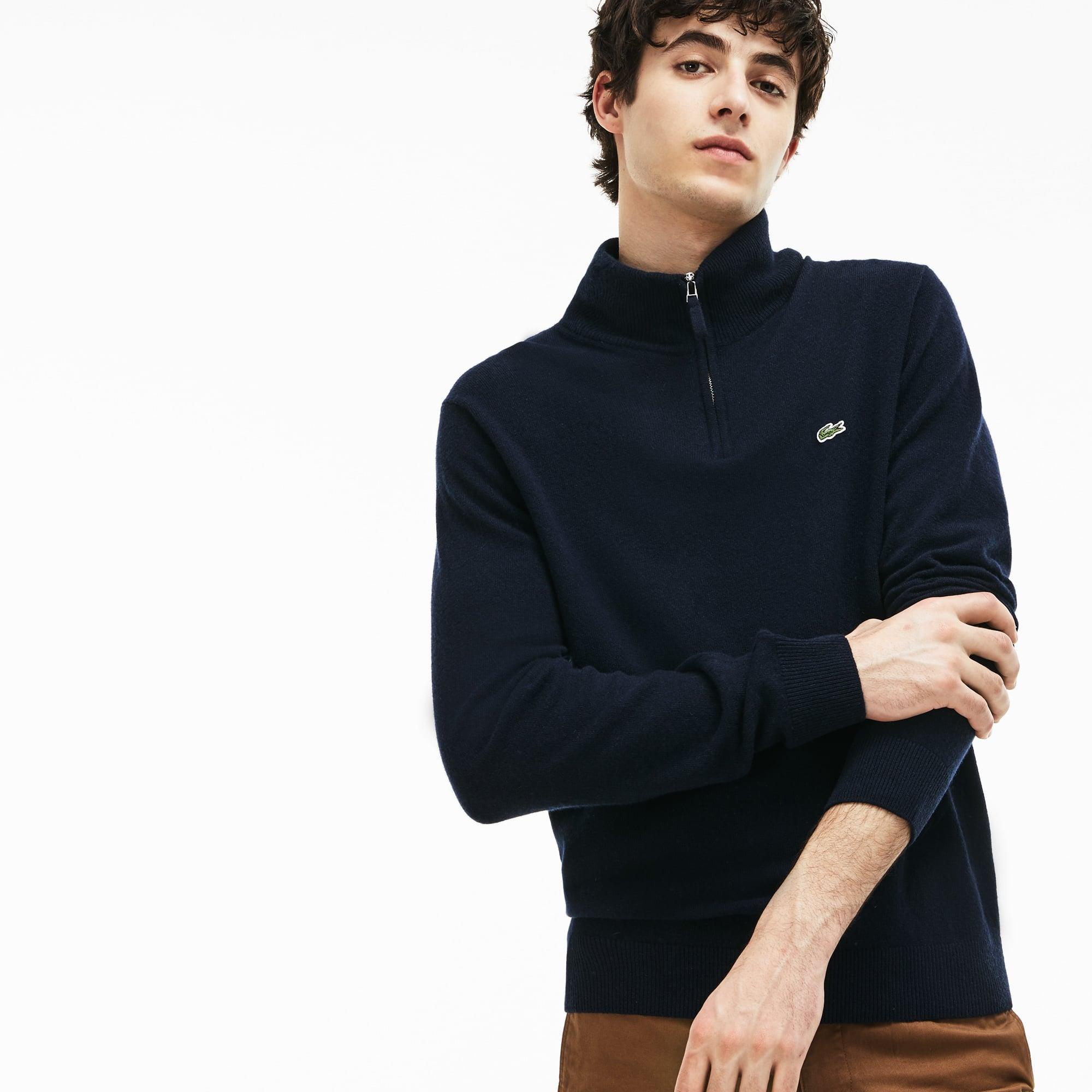 Men's Zippered Stand-Up Collar Merino Wool Jersey Sweater