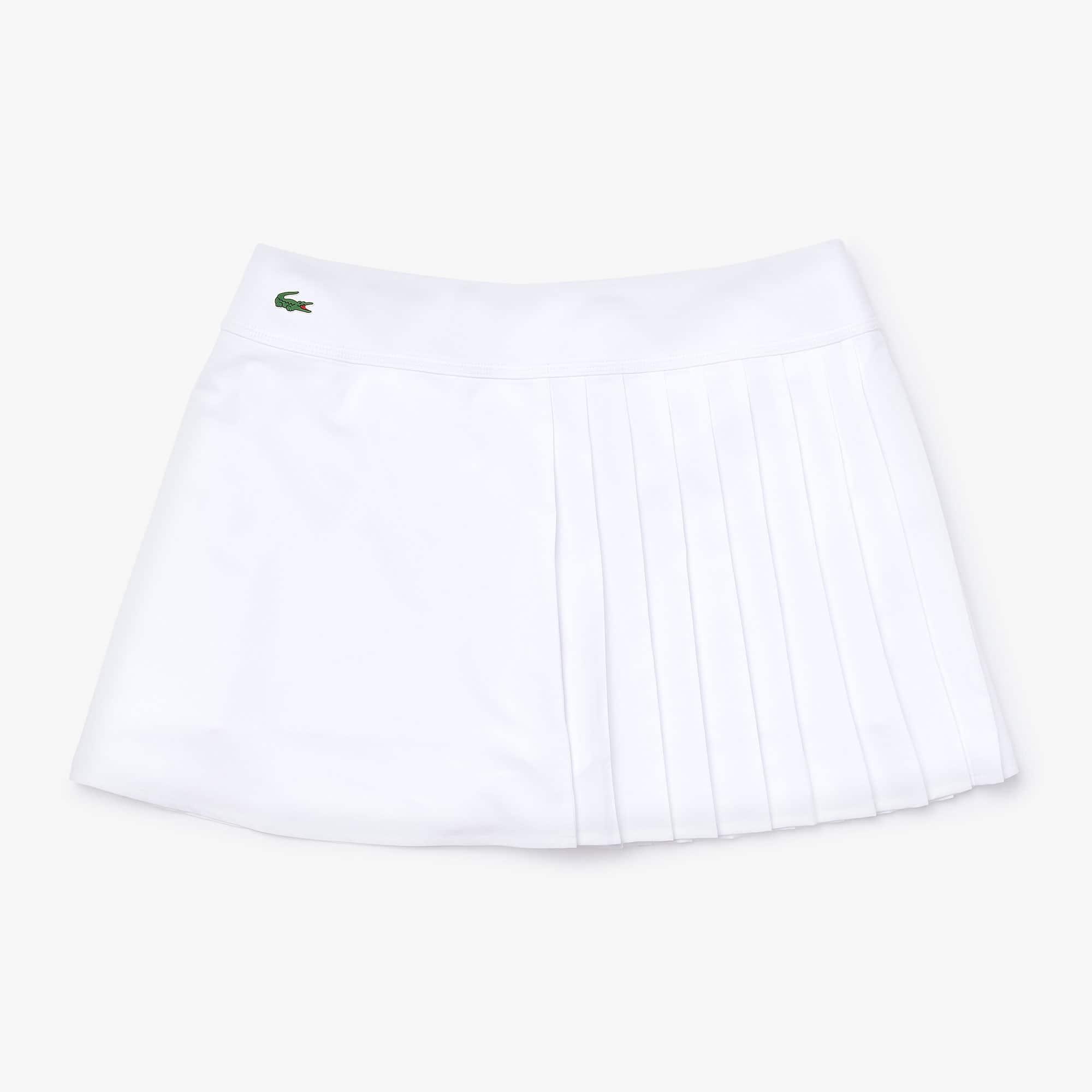 라코스테 스포츠 테니스 언발 플리츠 스커트 - 화이트 Womens Lacoste SPORT Asymmetrical Pleated Tennis Skirt