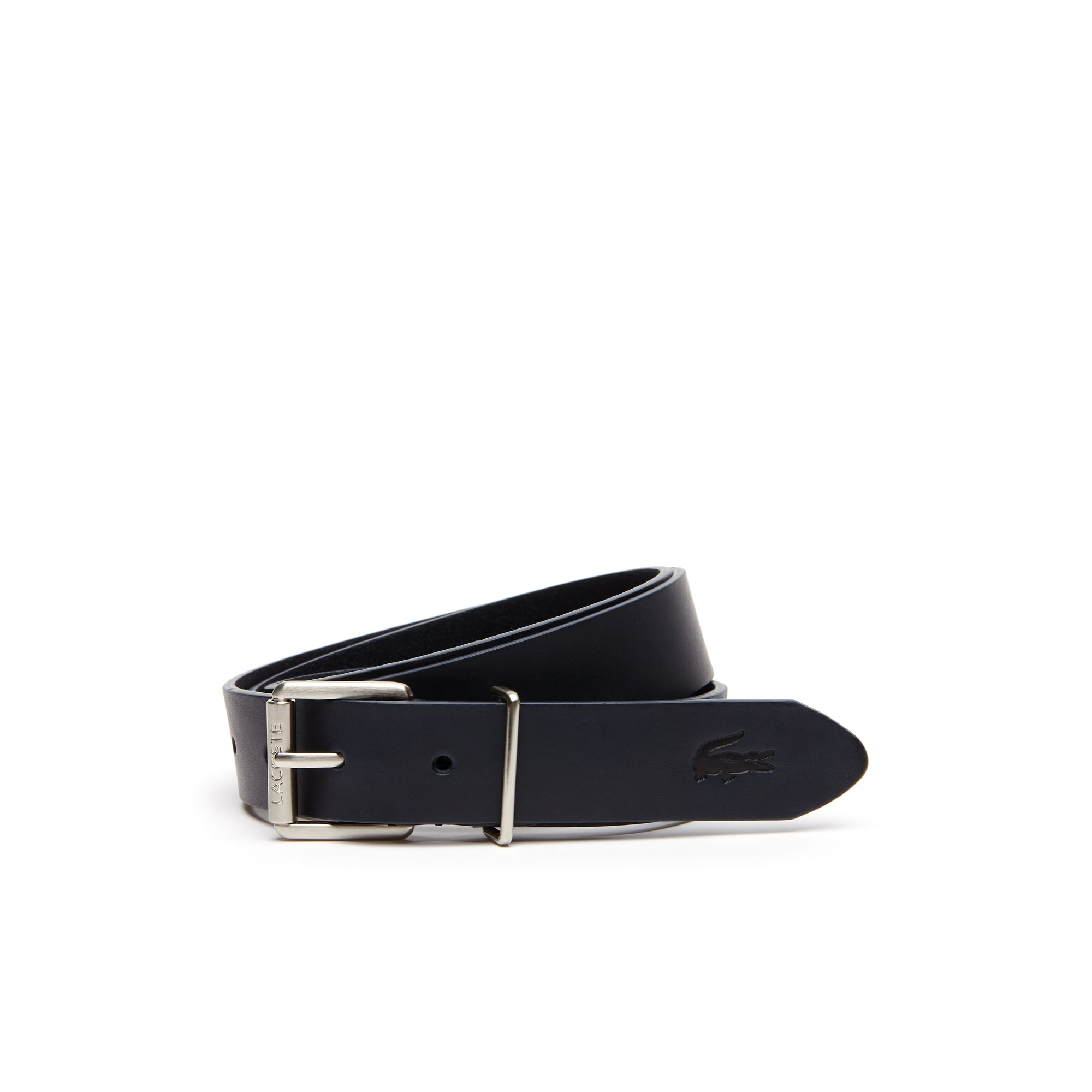 라코스테 벨트 Mens Lacoste Engraved Rolling Tongue Buckle Leather Belt,navy