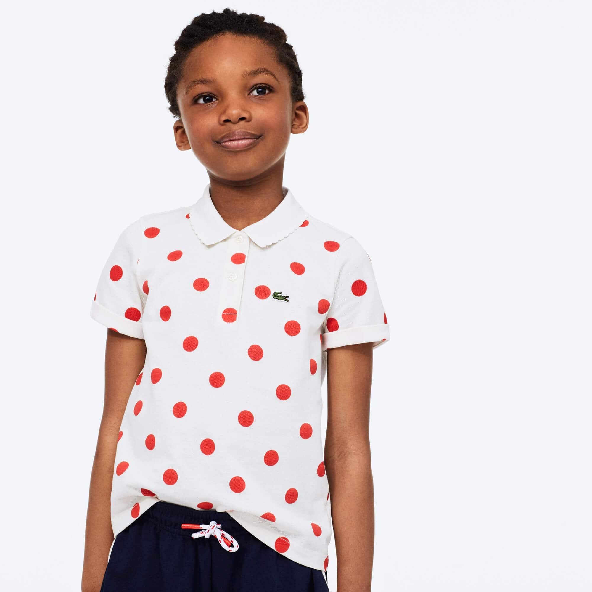 라코스테 Lacoste Girls' Polka Dot Scalloped Collar Cotton Petit Pique Polo,White / Red • X5Y