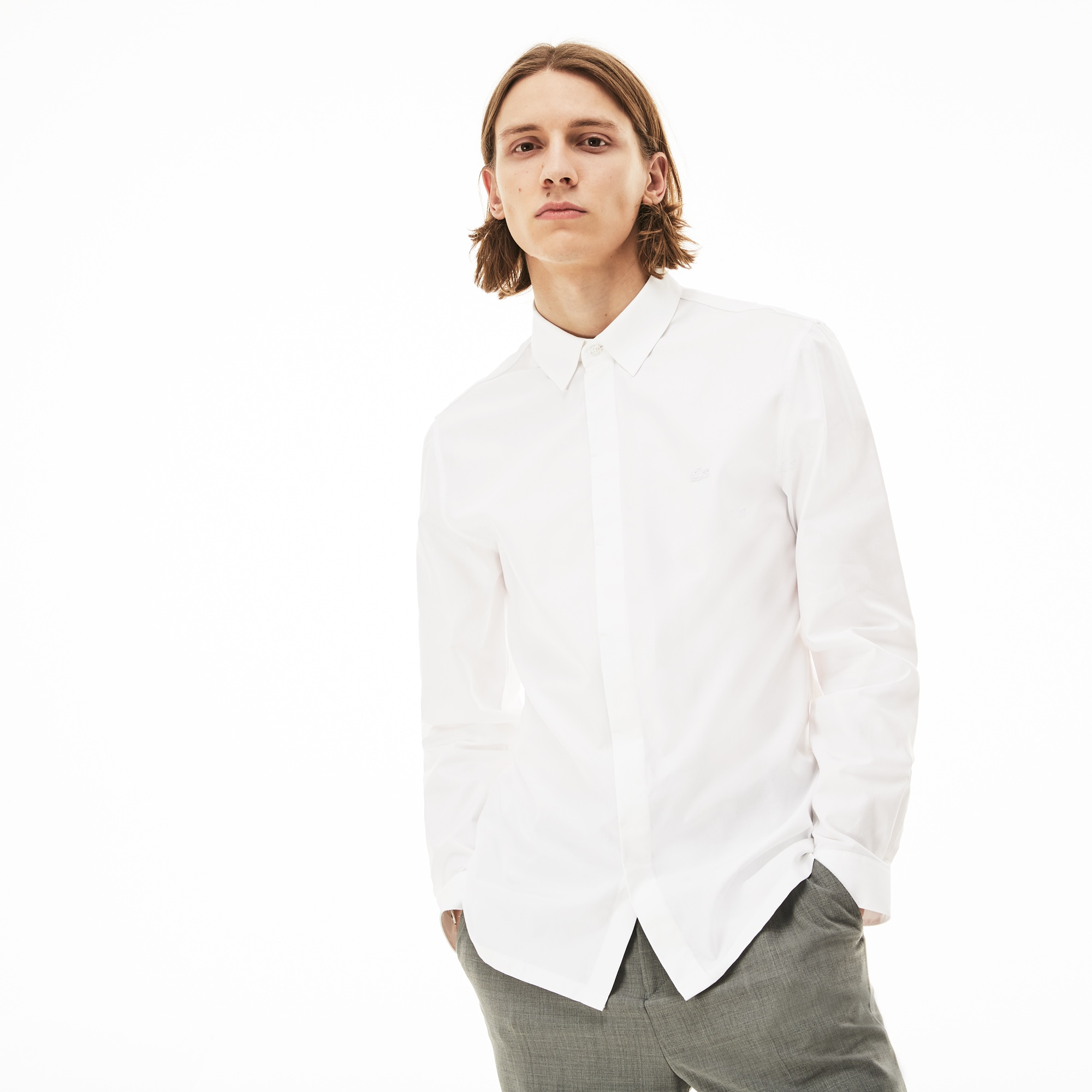 Men's Motion Slim Fit Cotton Mini Piqué Shirt