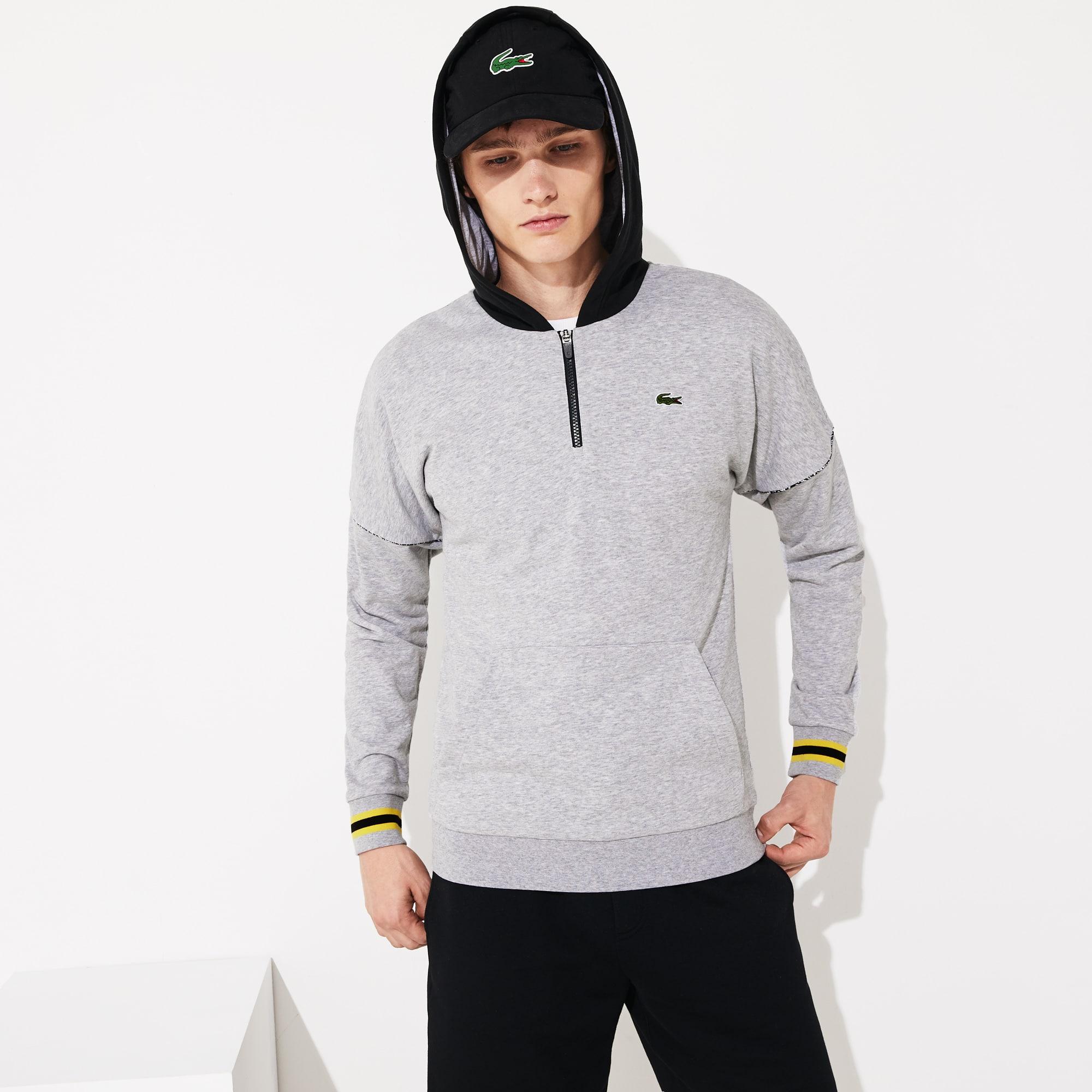 라코스테 스포츠 하프 집업 후드티 Lacoste Mens SPORT Contrast-Hood Fleece Sweatshirt,Grey Chine / Black / Yellow / White - YAB (Selecte