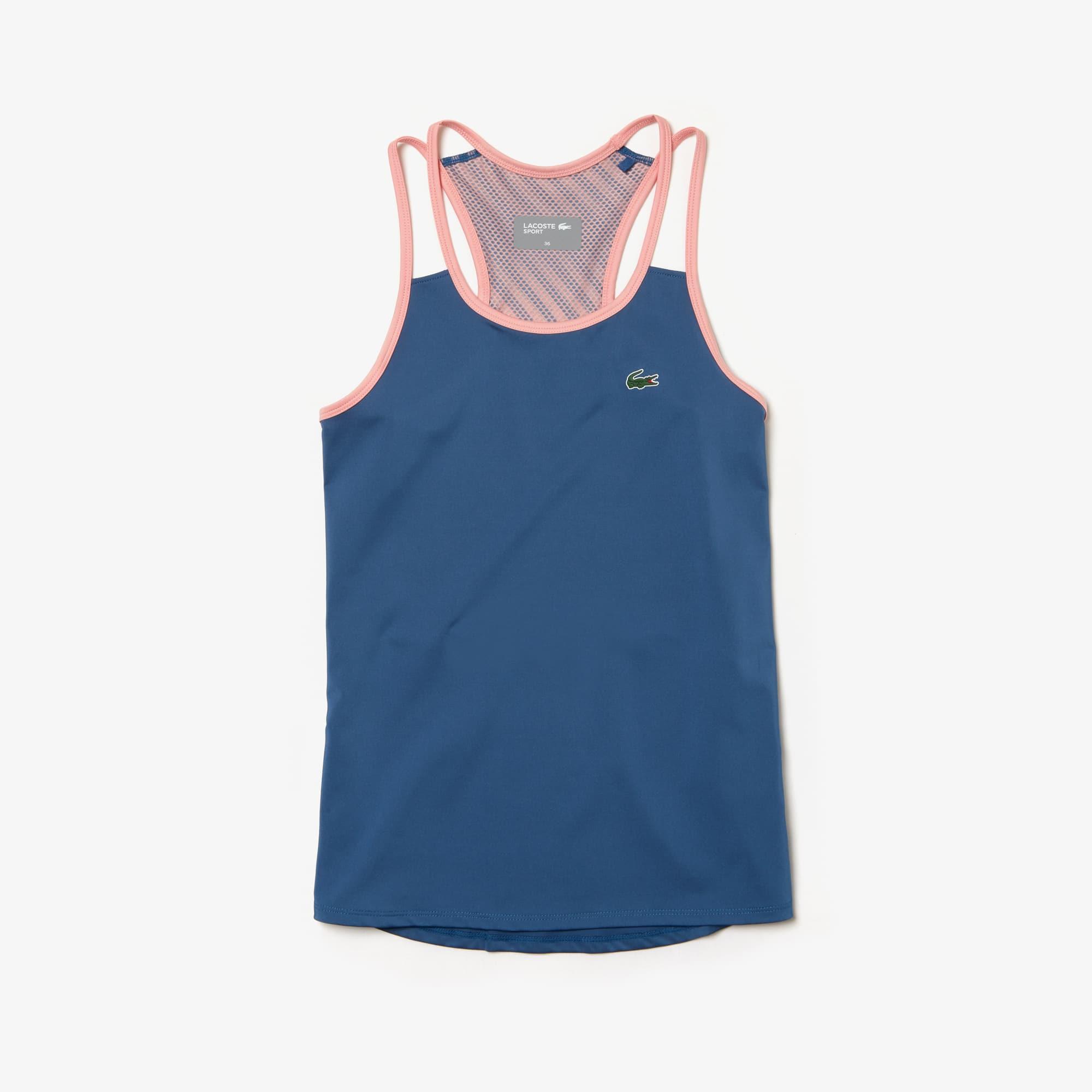 라코스테 레이서백 나시 티셔츠 Lacoste Womens SPORT Tech Jersey Racerback Tennis Tank Top,blue / pink / pink