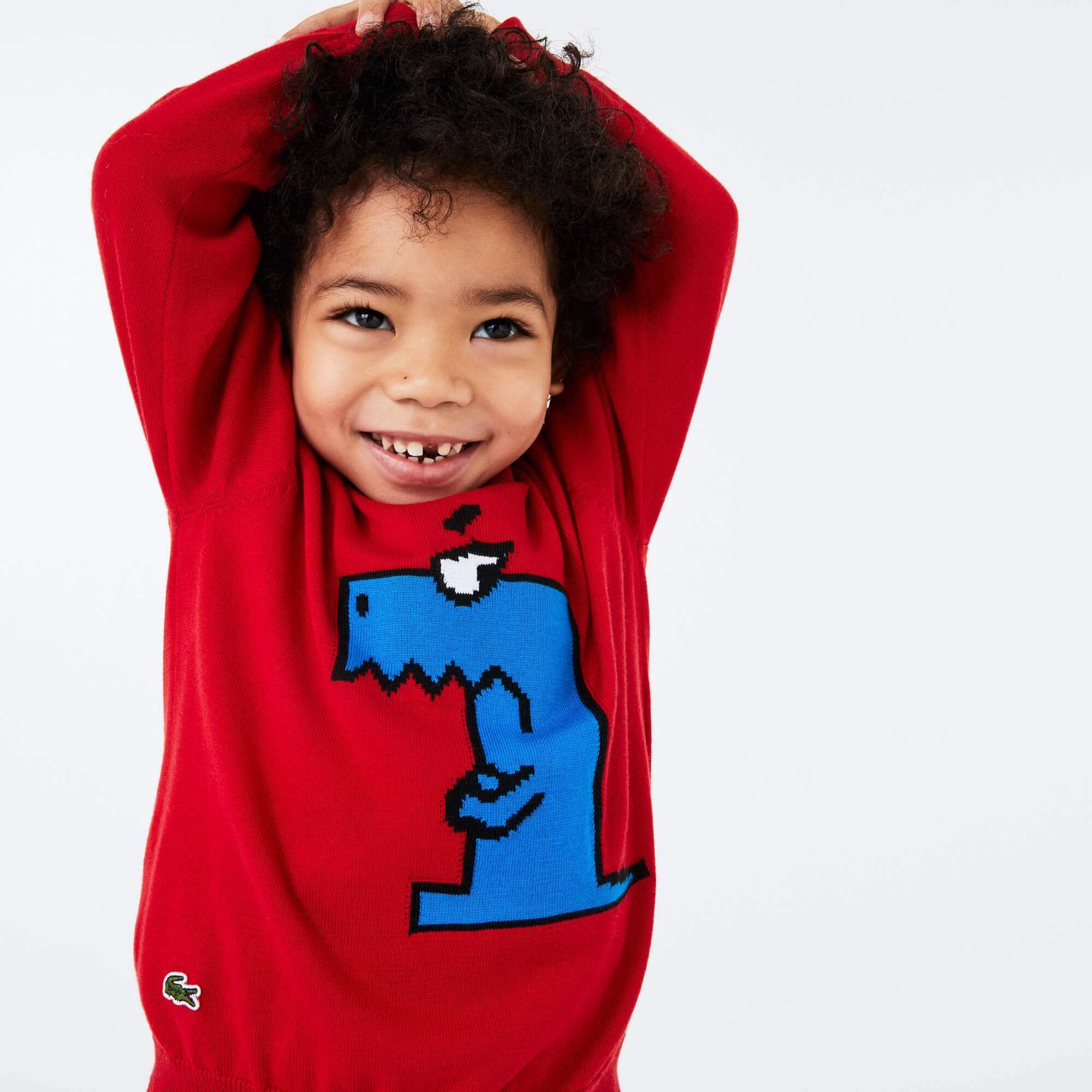 라코스테 Lacoste Boys Fun Crocodile Organic Cotton Sweater,Red / White • HBC