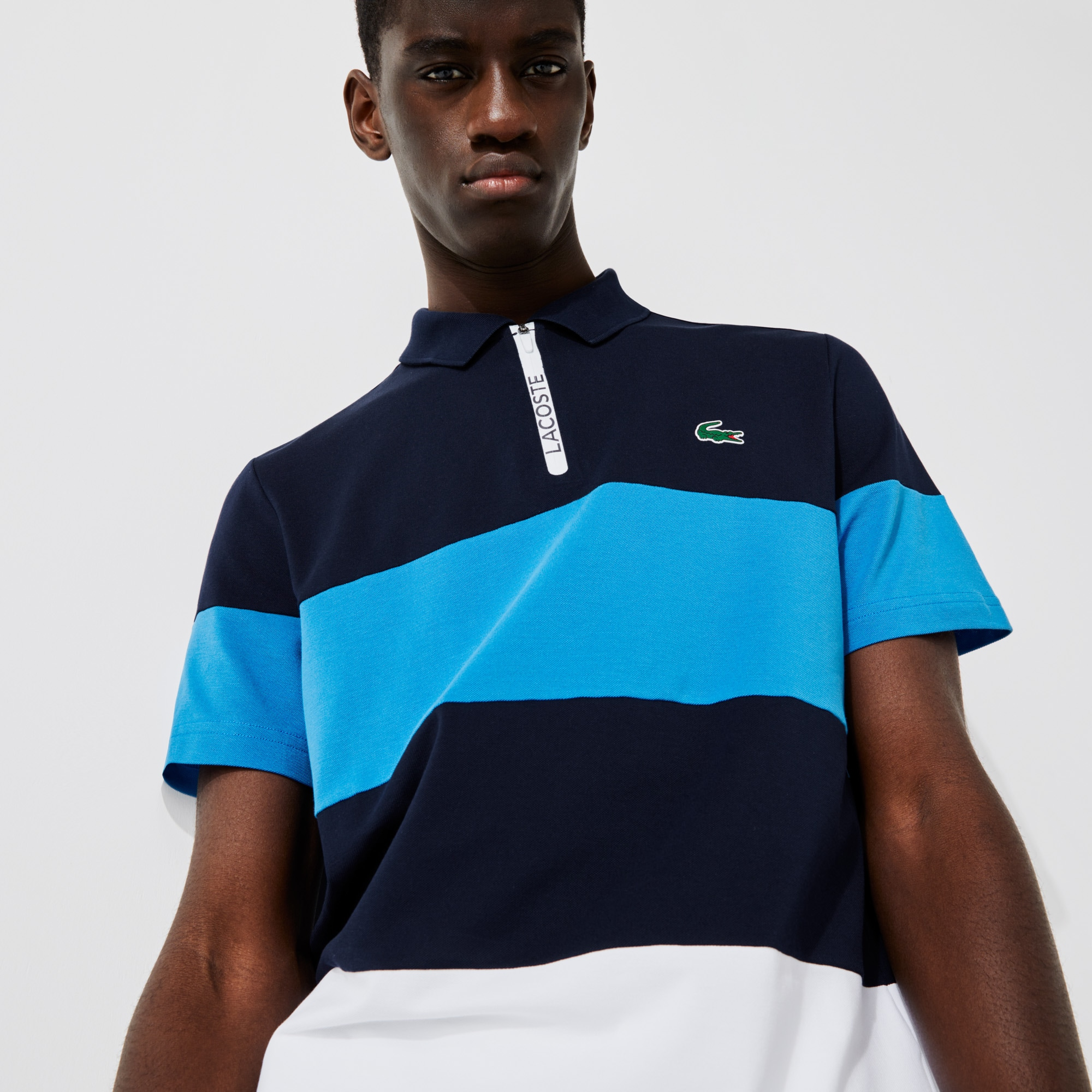 라코스테 Lacoste Men's SPORT Striped Stretch Pique Zip-Up Golf Polo Shirt