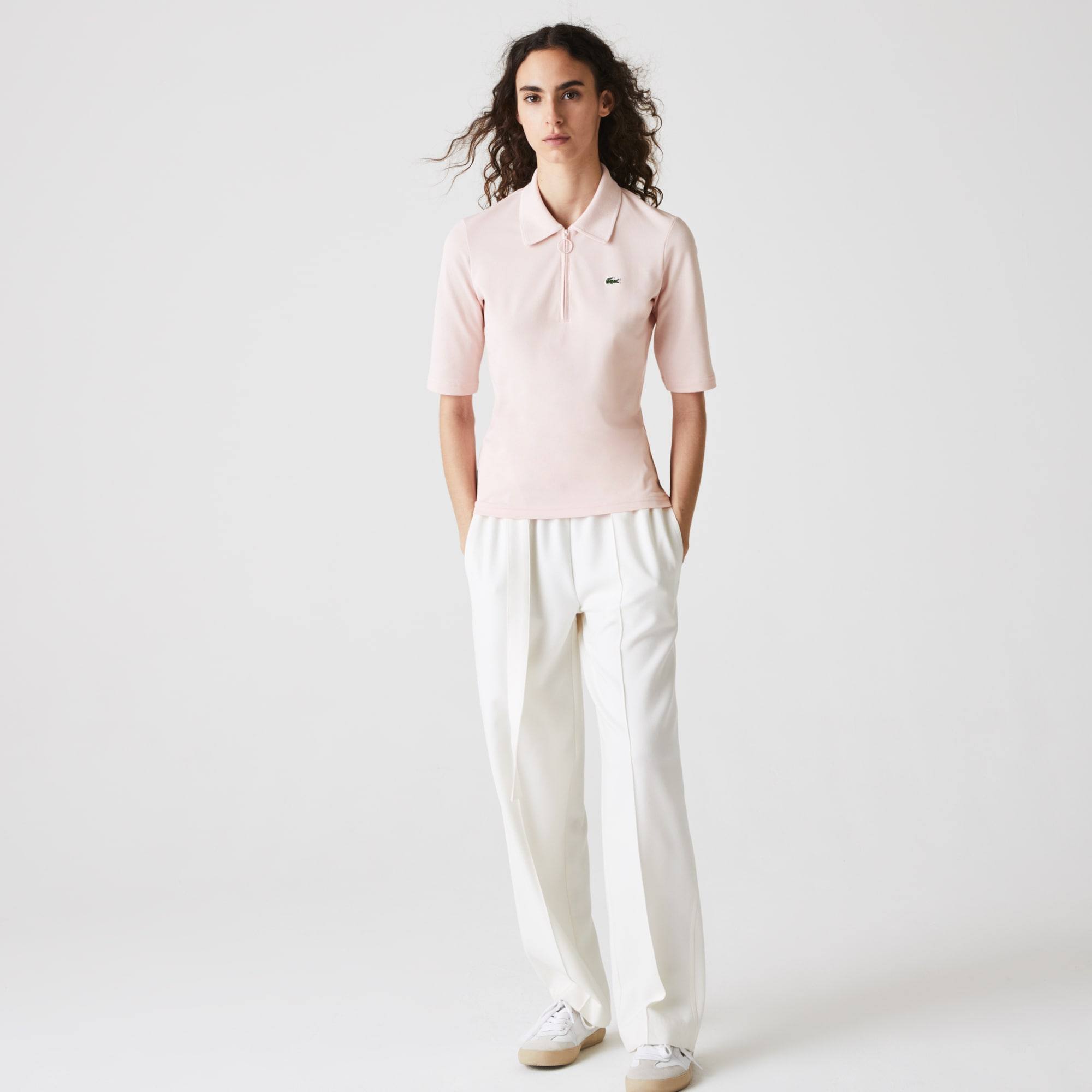 Womens Lacoste Zippered Slim Fit Cotton Pique Polo Shirt