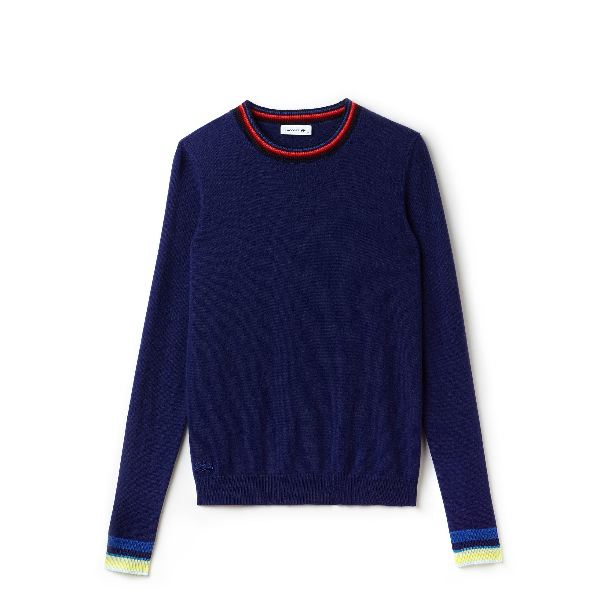 Women's Crew Neck Cashmere Jersey Sweater With Striped ...