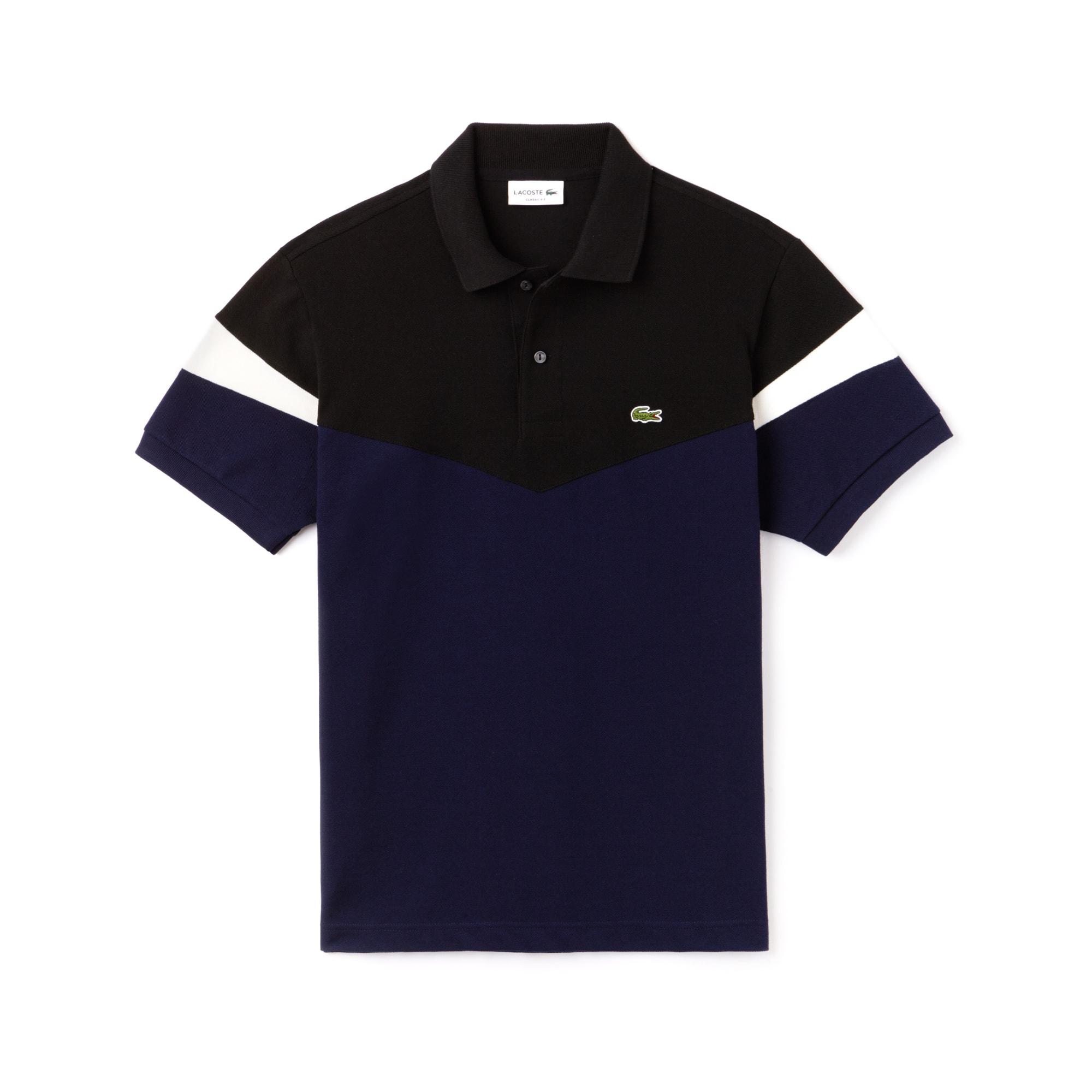 라코스테 Lacoste Mens Classic Fit Colorblock Cotton Petit Pique Polo,navy blue/black-flour