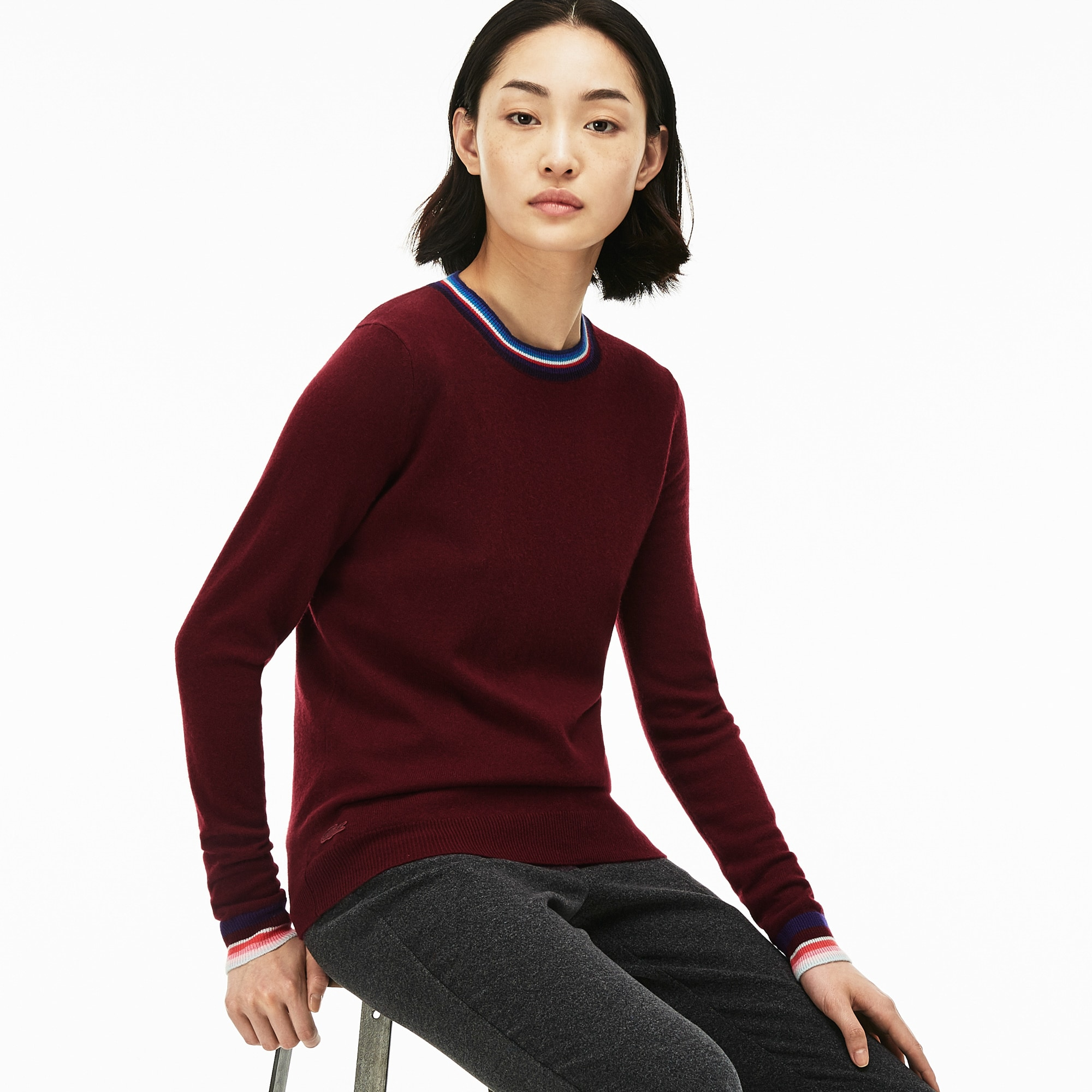 Lacoste Womens Crew Neck Cashmere Jersey Sweater With Striped