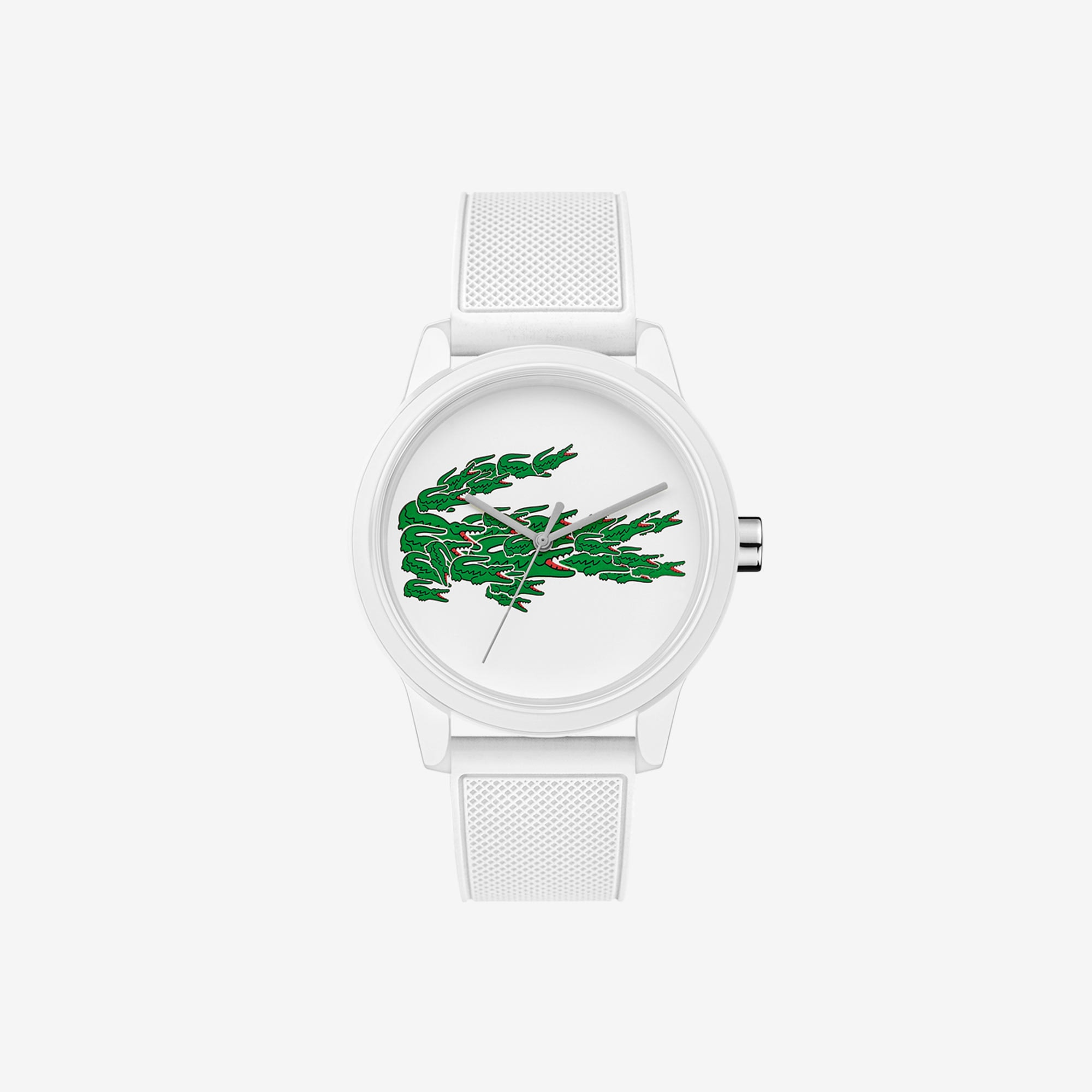 Gents Lacoste 12.12 Watch with White Silicone Petit Piqué Strap