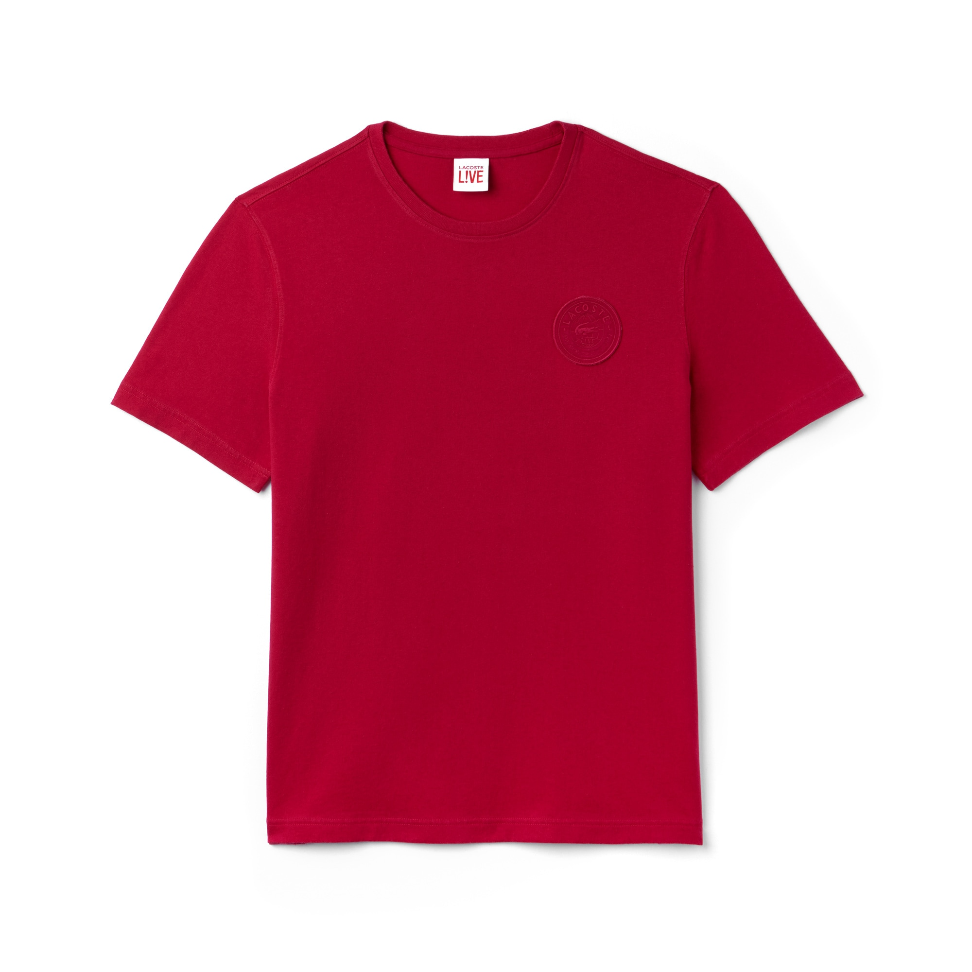 라코스테 Lacoste Mens LIVE Crew Neck And Badge Cotton Jersey T-shirt,pink