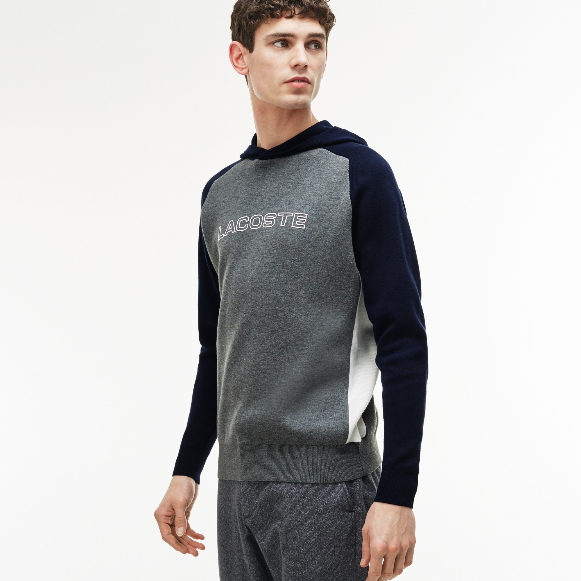 Men's Hooded Sweatshirt With Rubber Lacoste Print