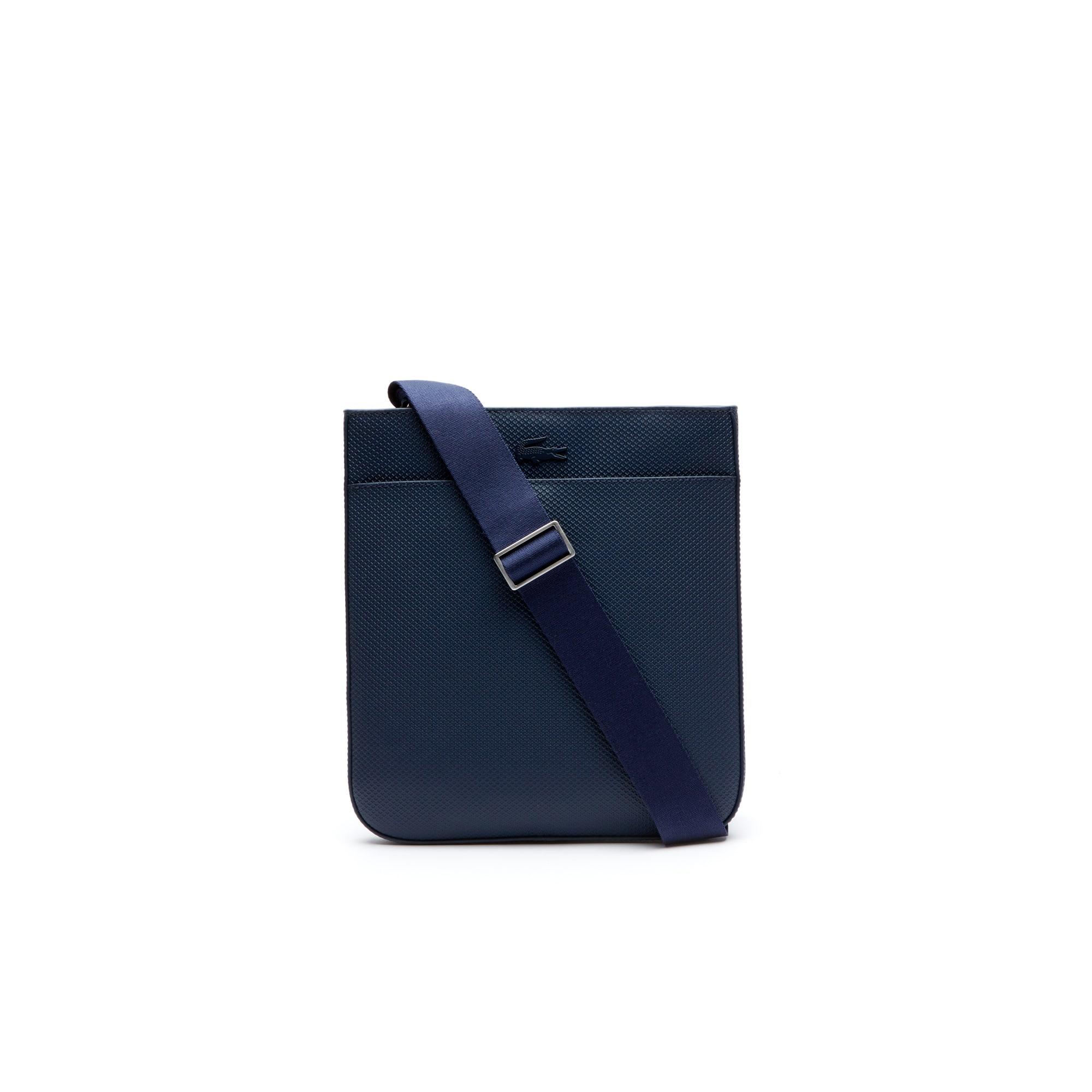라코스테 Lacoste Mens Chantaco Matte Pique Leather Bag,peacoat