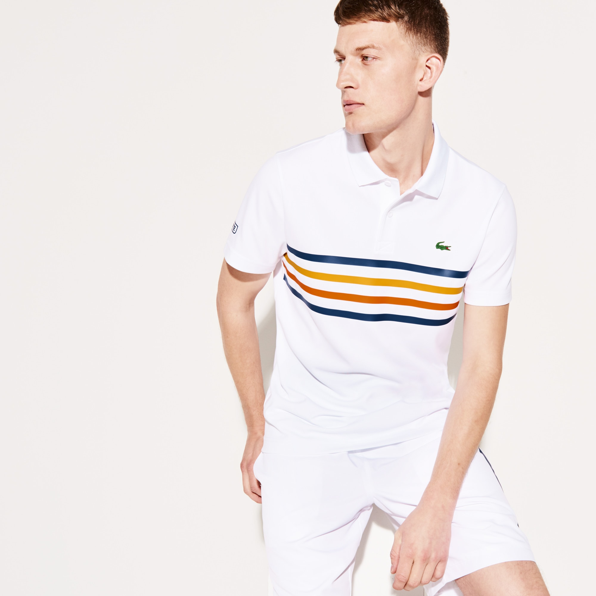 Men's SPORT Colored Bands Technical Piqué Tennis Polo