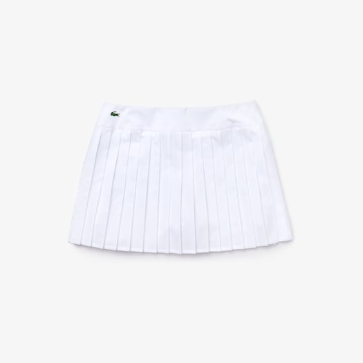 라코스테 우먼 스포츠 테니스 플리츠 스커트 Womens Lacoste SPORT Tennis Technical Mesh Pleated Skirt,White / White / White