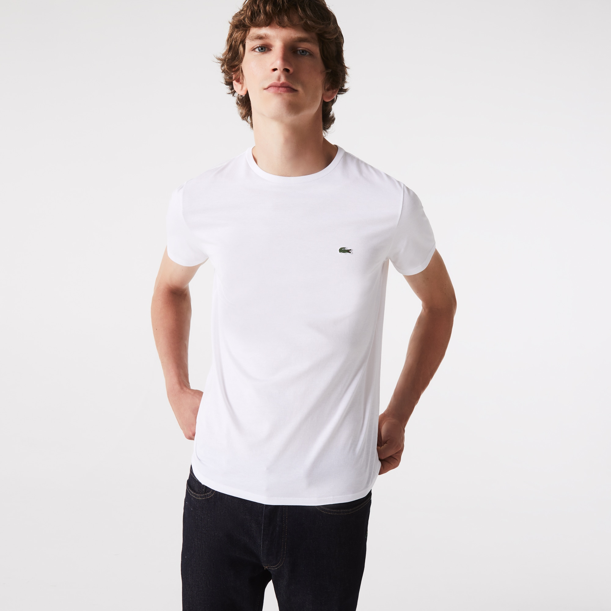 라코스테 Lacoste Mens Crew Neck Pima Cotton Jersey T-shirt