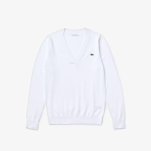 라코스테 스포츠 우먼 브이넥 스웨터 Lacoste Women's SPORT V-neck Sweater,White - 001
