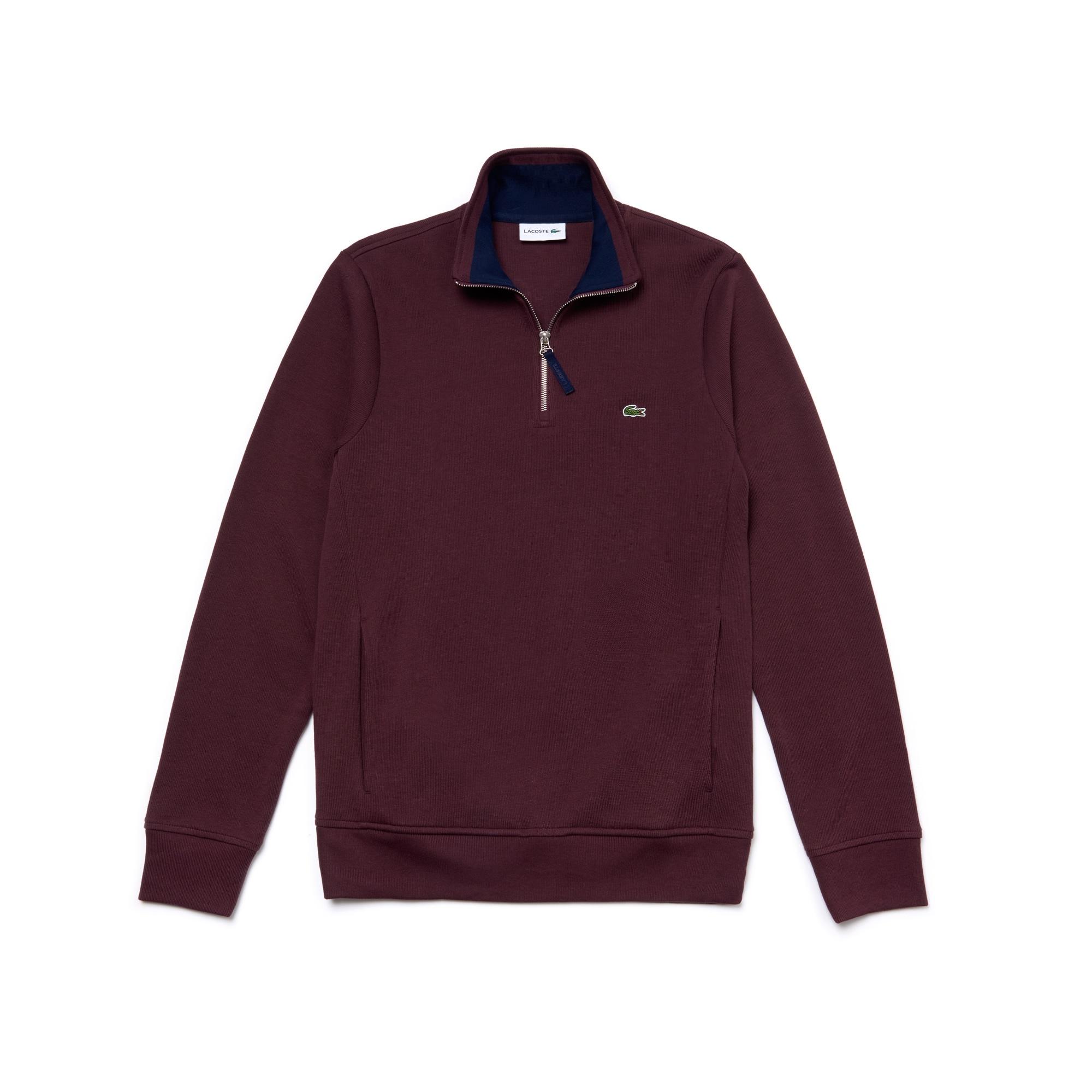 Men's Flat Ribbed Zippered Stand-Up Collar Sweatshirt