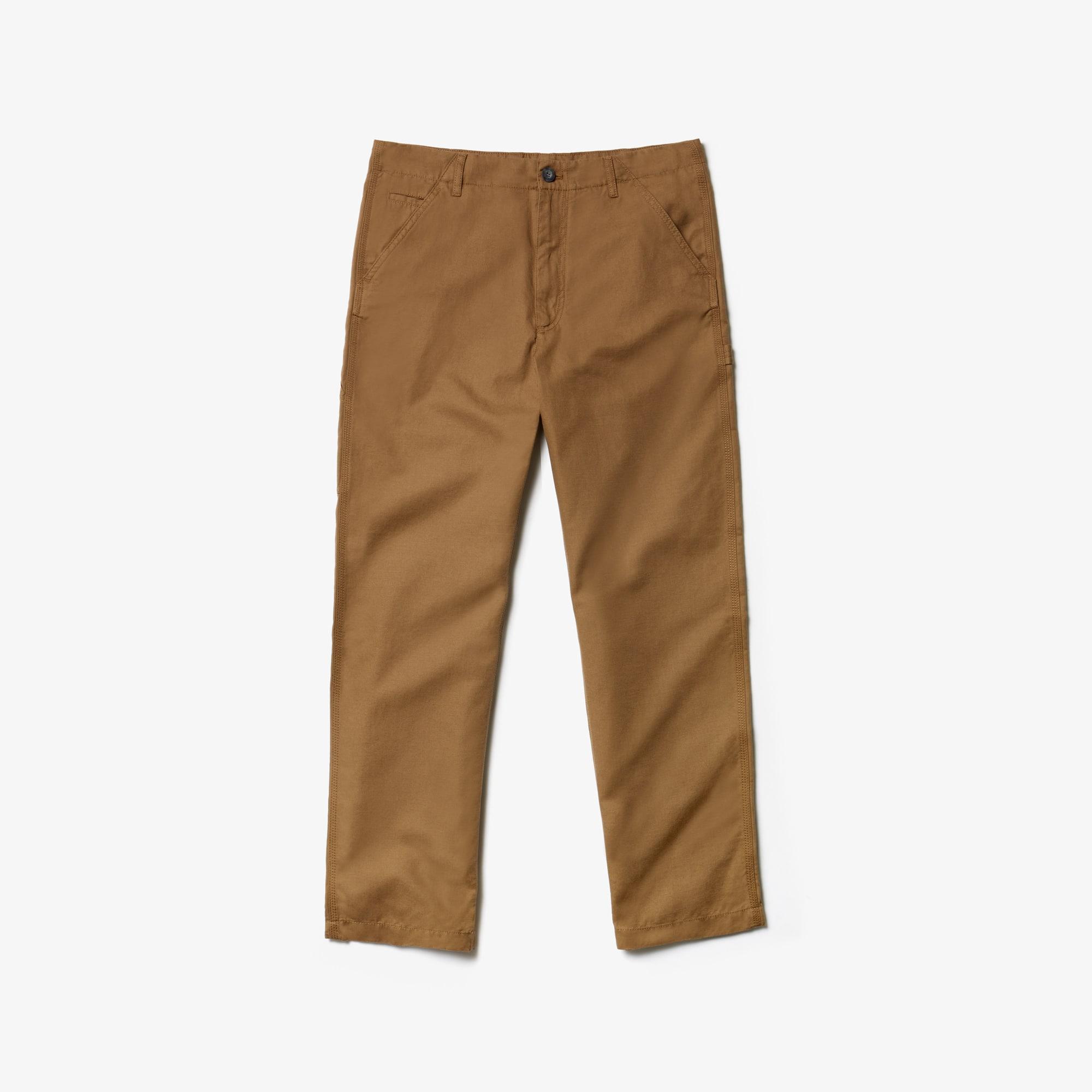 라코스테 Lacoste Mens Relaxed Fit Lightweight Cotton And Linen Chinos,Brown