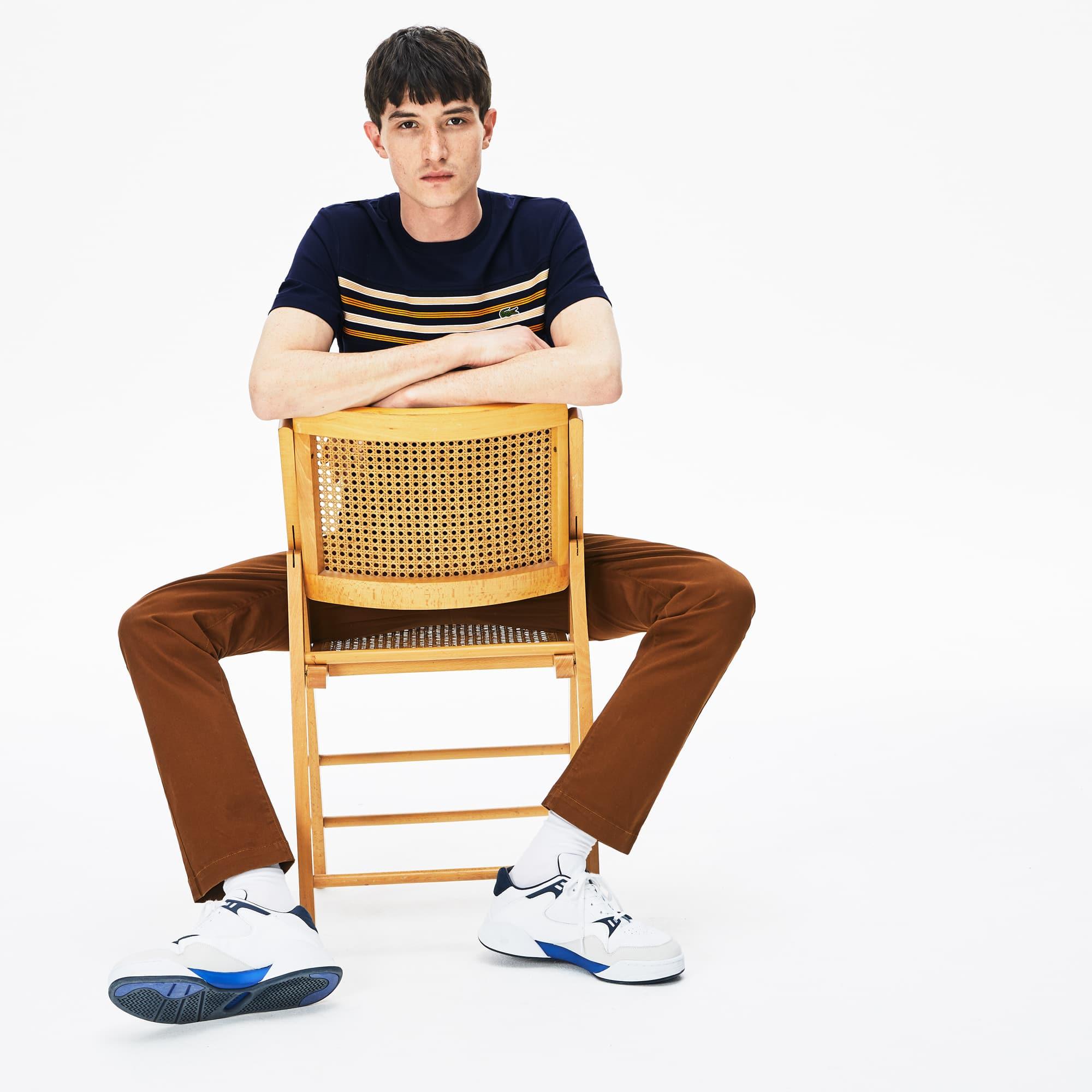 Lacoste Tops Men's Crew Neck Striped Panel Cotton T-shirt