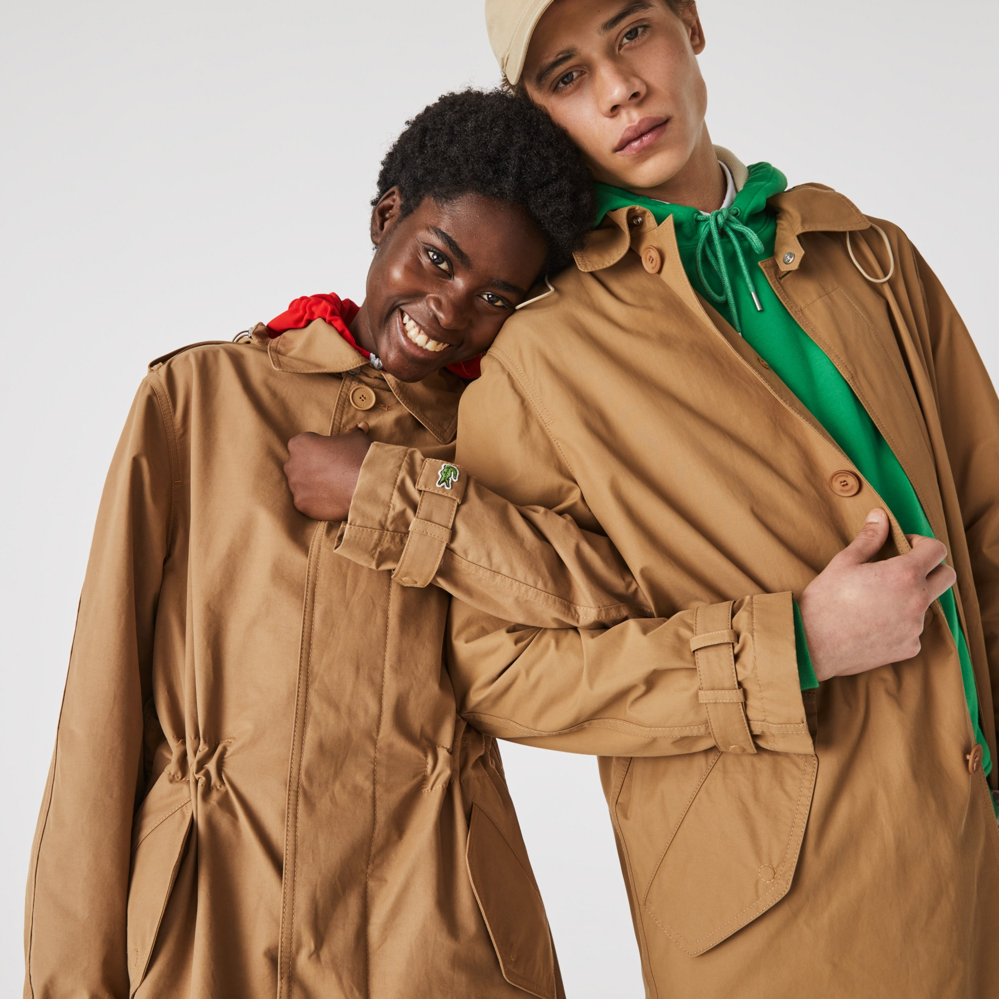 라코스테 남녀공용 경량 캔버스 트렌치 코트 - 베이지 Lacoste Unisex Lightweight Canvas Trench Coat