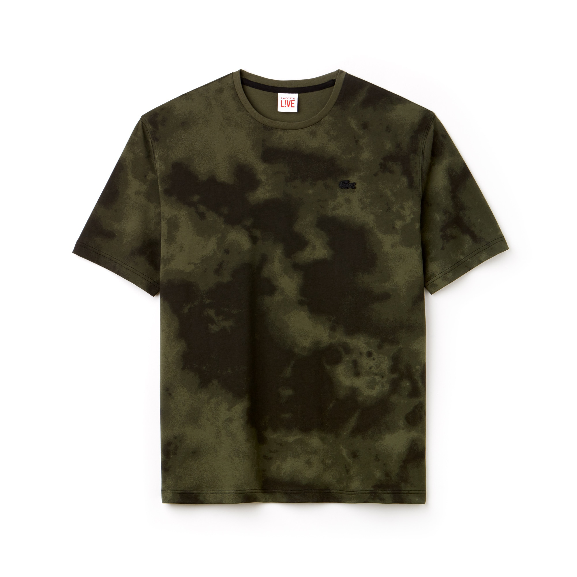 라코스테 Lacoste Mens LIVE Crew Neck Cloud Print Cotton Jersey T-shirt,Khaki Green / Black