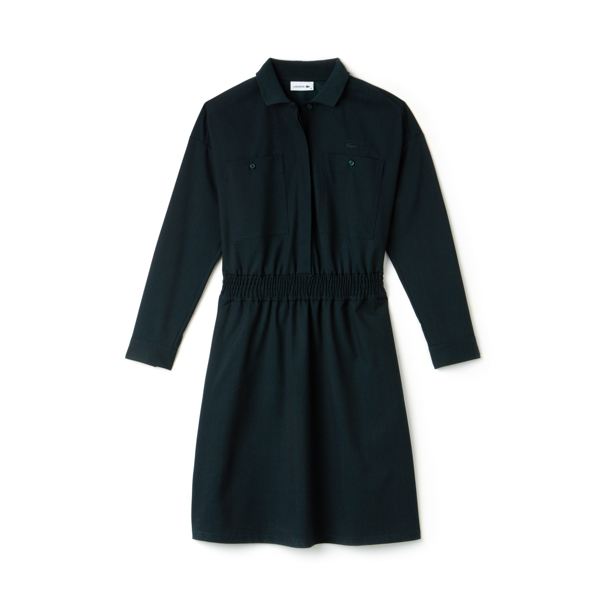 Women's Chest Pockets Fitted Stretch Wool Knit Polo Dress