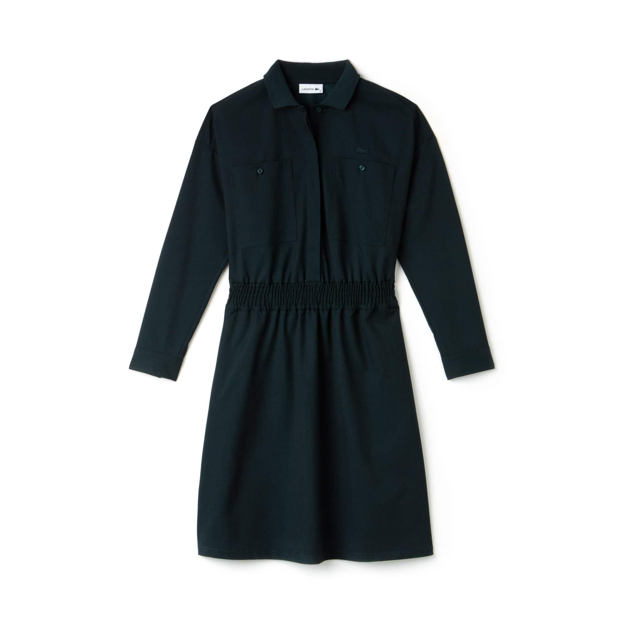 라코스테 Lacoste Womens Chest Pockets Fitted Stretch Wool Knit Polo Dress,ACONIT DARK