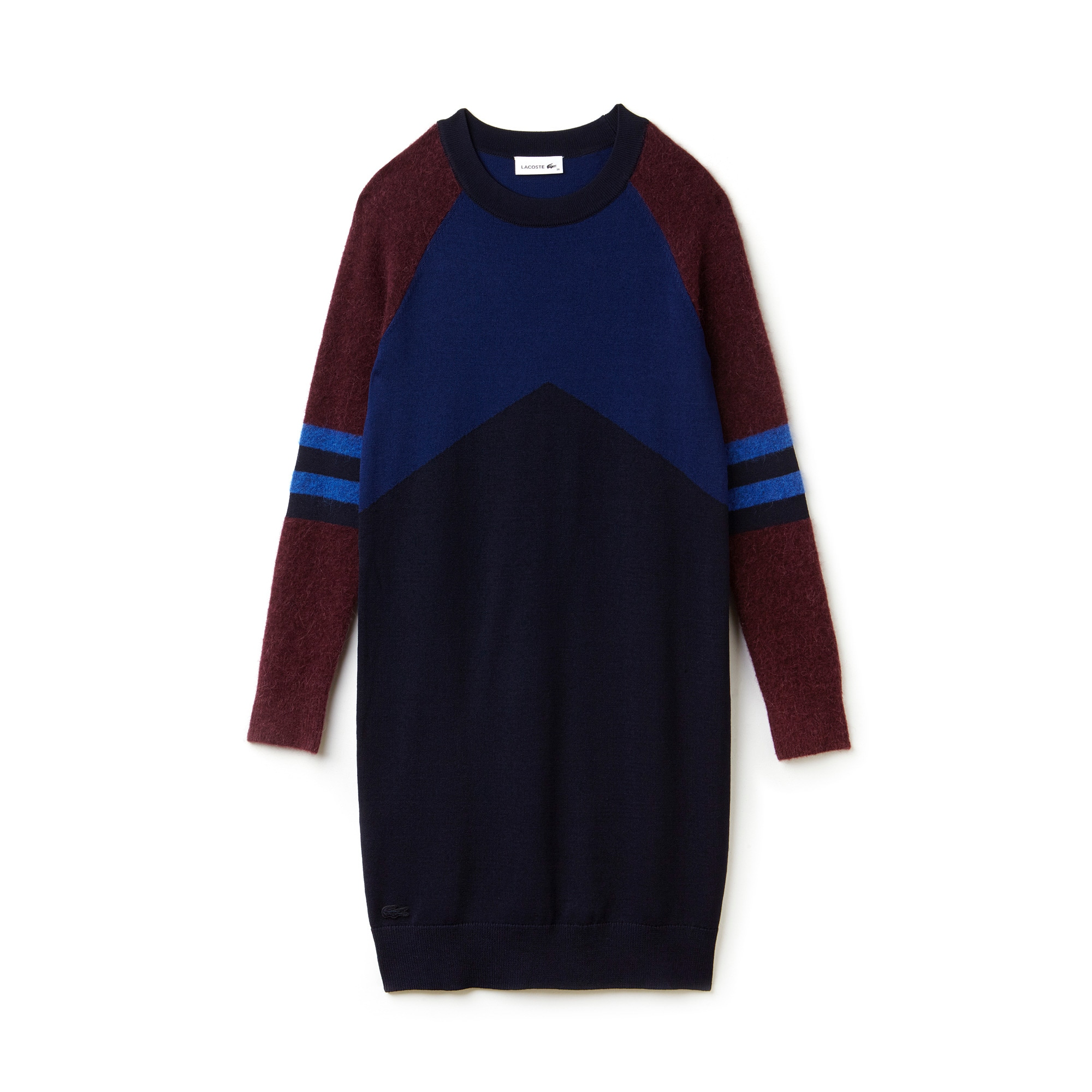 Women's Stretch Wool Jersey Colorblock Sweater Dress