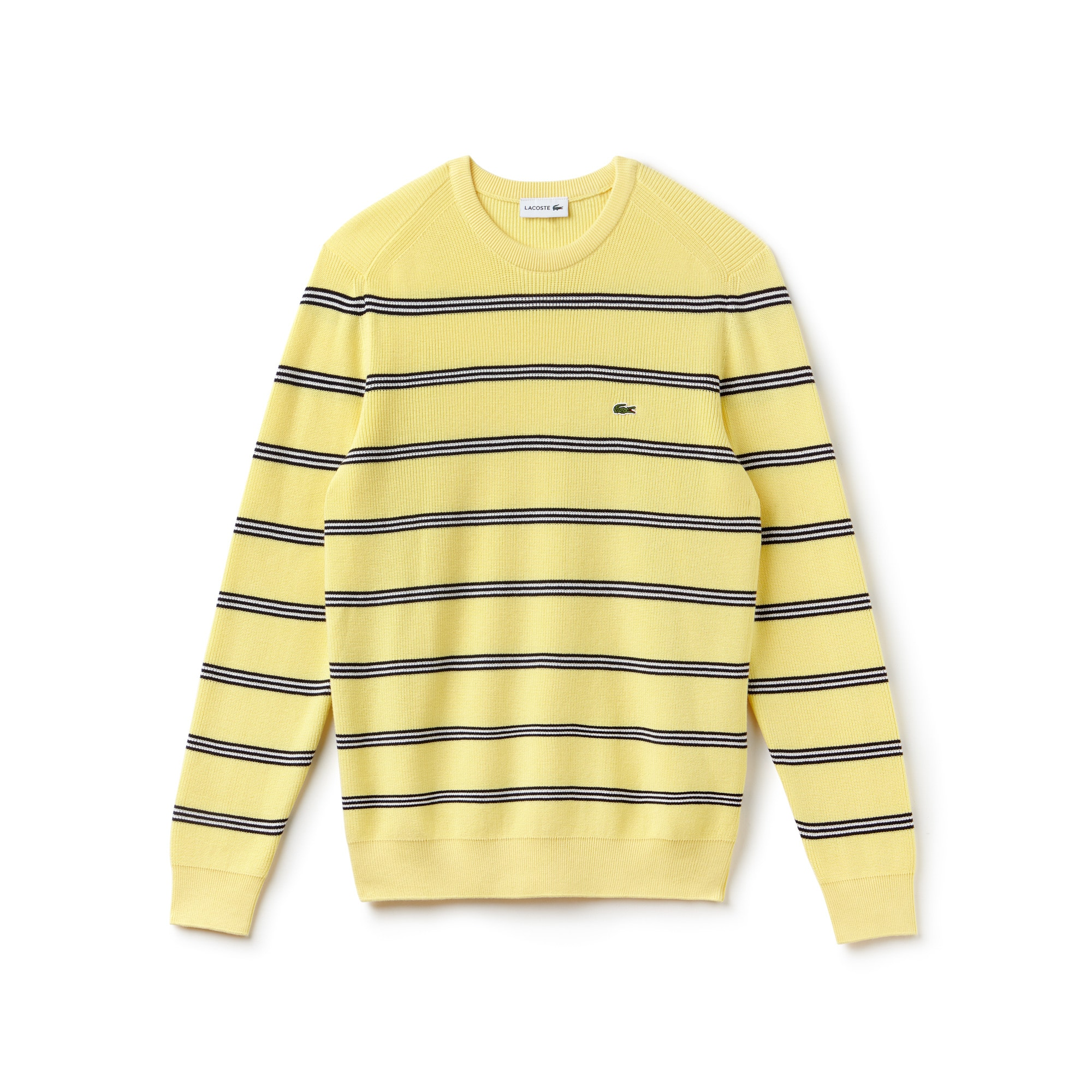 Men's Crew Neck Striped Ribbed Sweater