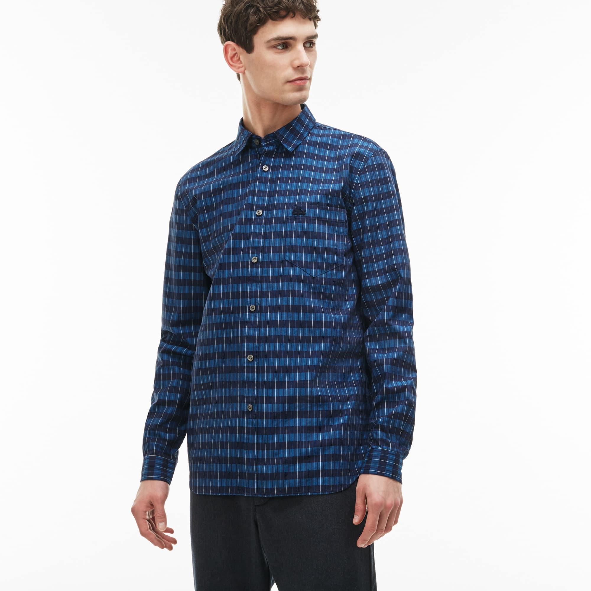 Men's Regular Fit Texturized Stripe Check Poplin Shirt