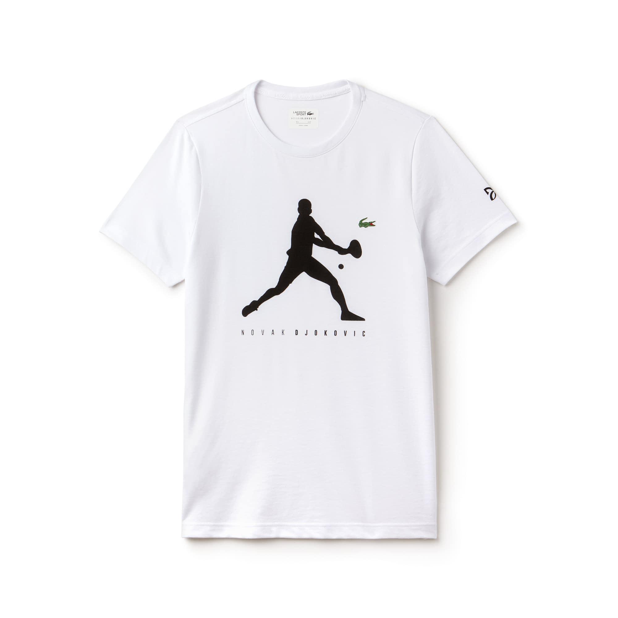 라코스테 Lacoste Mens SPORT Tennis T-Shirt - Novak Djokovic Supporter Collection,white / black