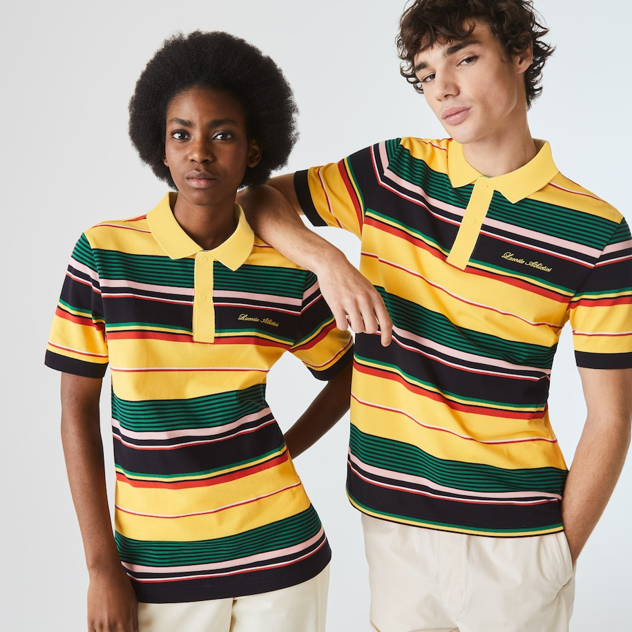 Unisex LIVE Embroidered Striped Cotton Piqué Polo