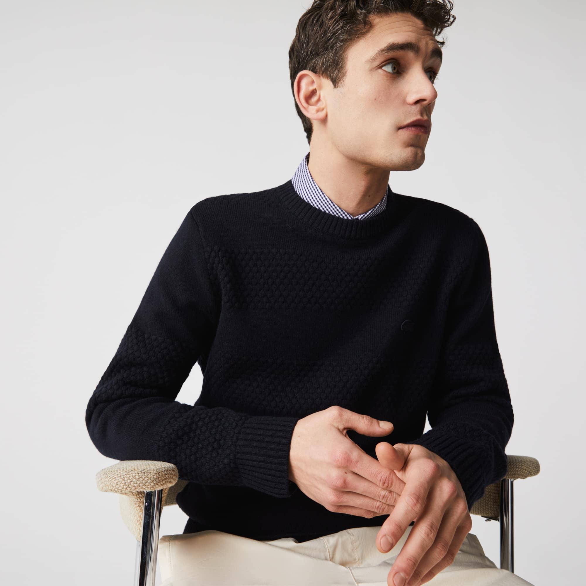 라코스테 Lacoste Men's Textured Striped Wool-Blend Sweater,Navy Blue HDE