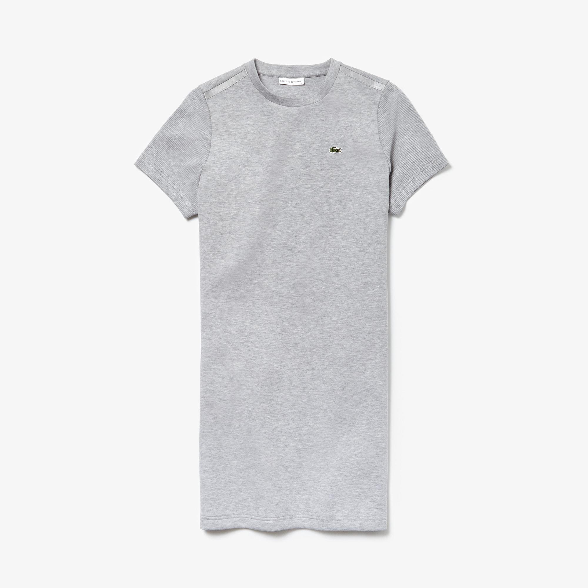 라코스테 Lacoste Womens SPORT Fleece Tennis T-shirt Dress,grey chine / light grey