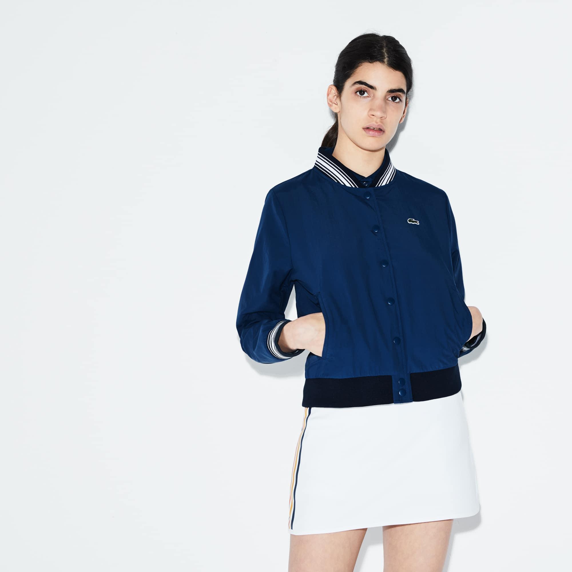 Women's SPORT Contrast Accents Taffeta Tennis Bomber